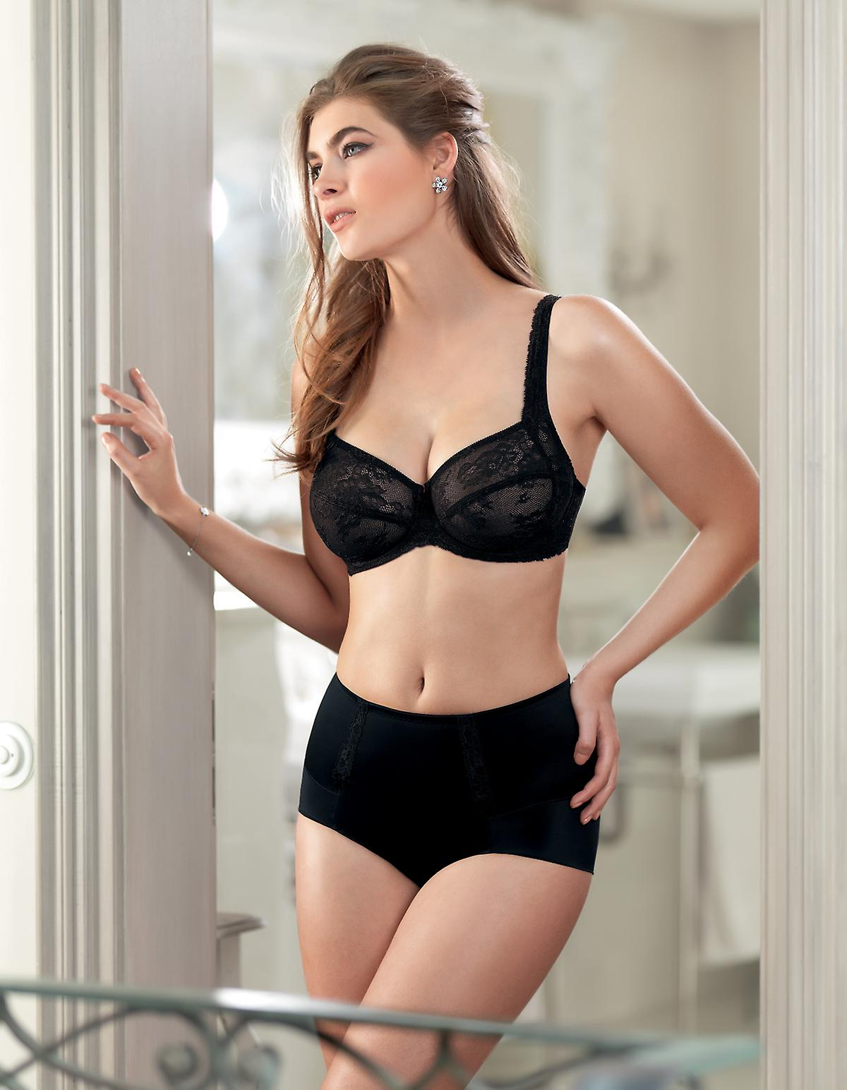 97892315554 Rosa Faia 1712-001 Women s Lace Rose Black Full Panty Girdle Highwaist Brief