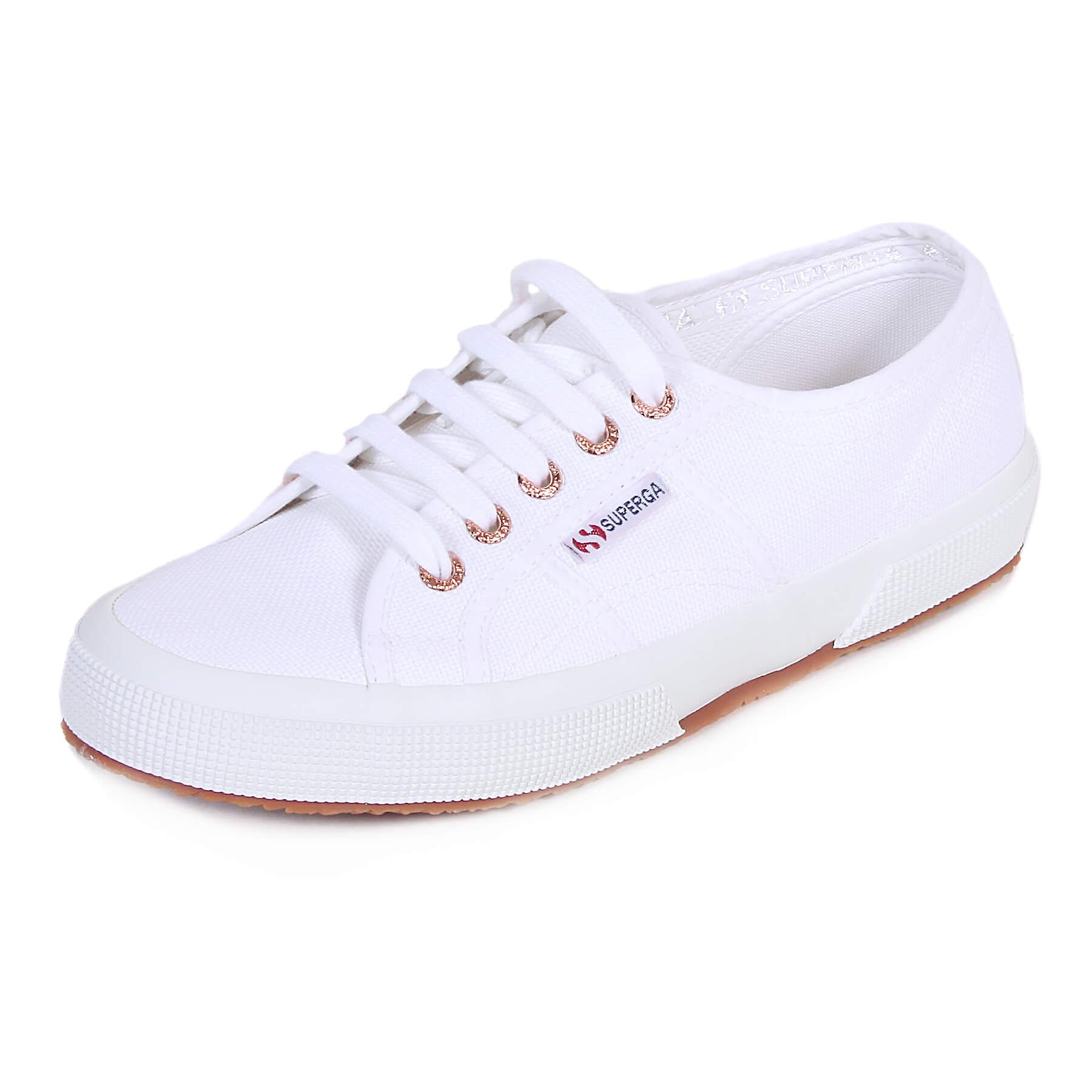 1e19f2941198 Superga Women s 2750 Cotu Canvas Colour Pop Lace Up White   Rose Gold