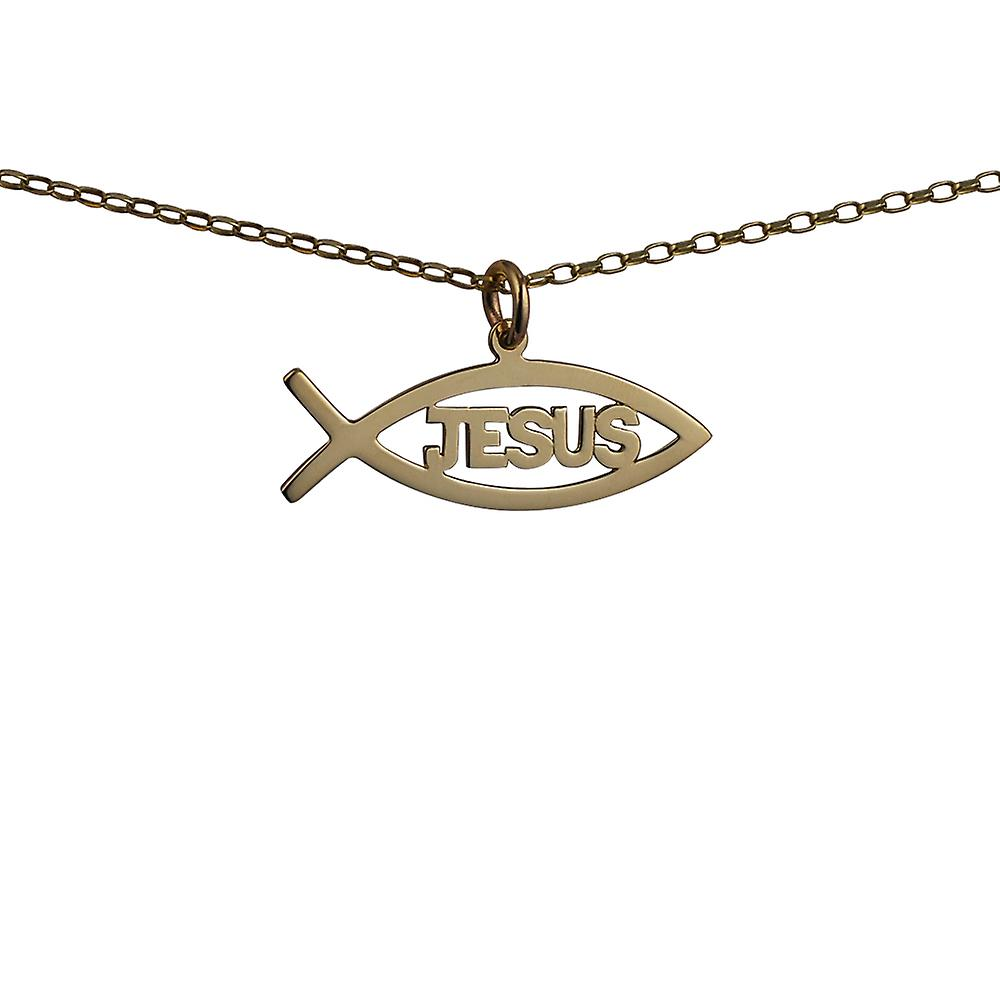9ct gold 35x7mm jesus christian fish pendant with a belcher chain 16 9ct gold 35x7mm jesus christian fish pendant with a belcher chain 16 inches only suitable for aloadofball Choice Image