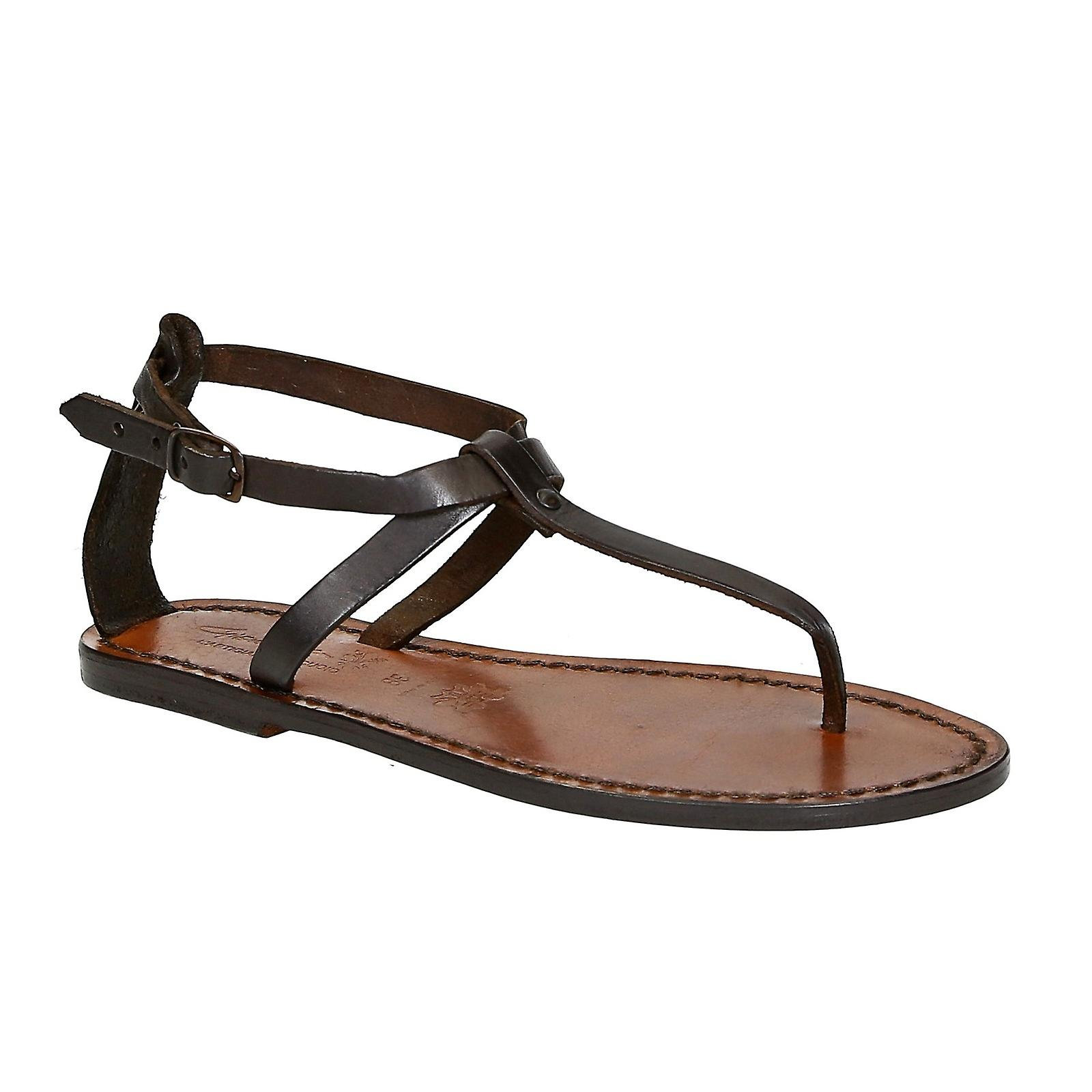d36379d9373 Womens thong sandals in Dark Brown Leather handmade in Italy
