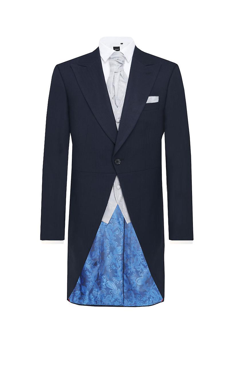 27f0bfcc72df Dobell Mens Navy Herringbone 2 Piece Morning Suit Regular Fit Matching  Trousers