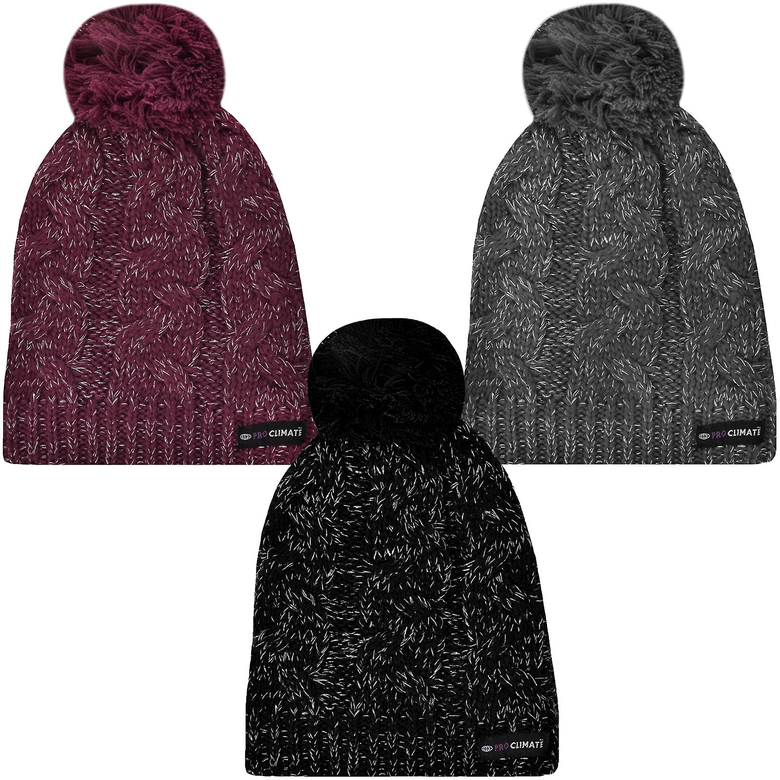 abfbb5d69 ProClimate Womens Thinsulate Waterproof Winter Knitted Beanie Pom Pom  Bobble Hat