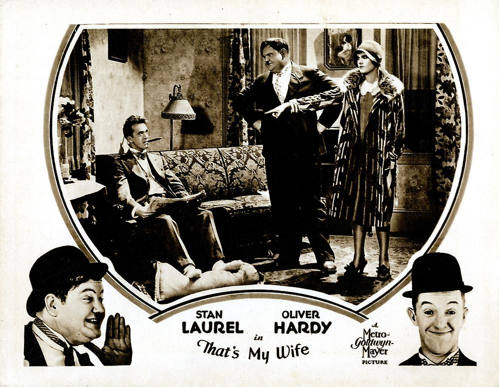 Thats My Wife Lobbycard From Left Stan Laurel Oliver Hardy Vivien Oakland 1929 Movie Poster