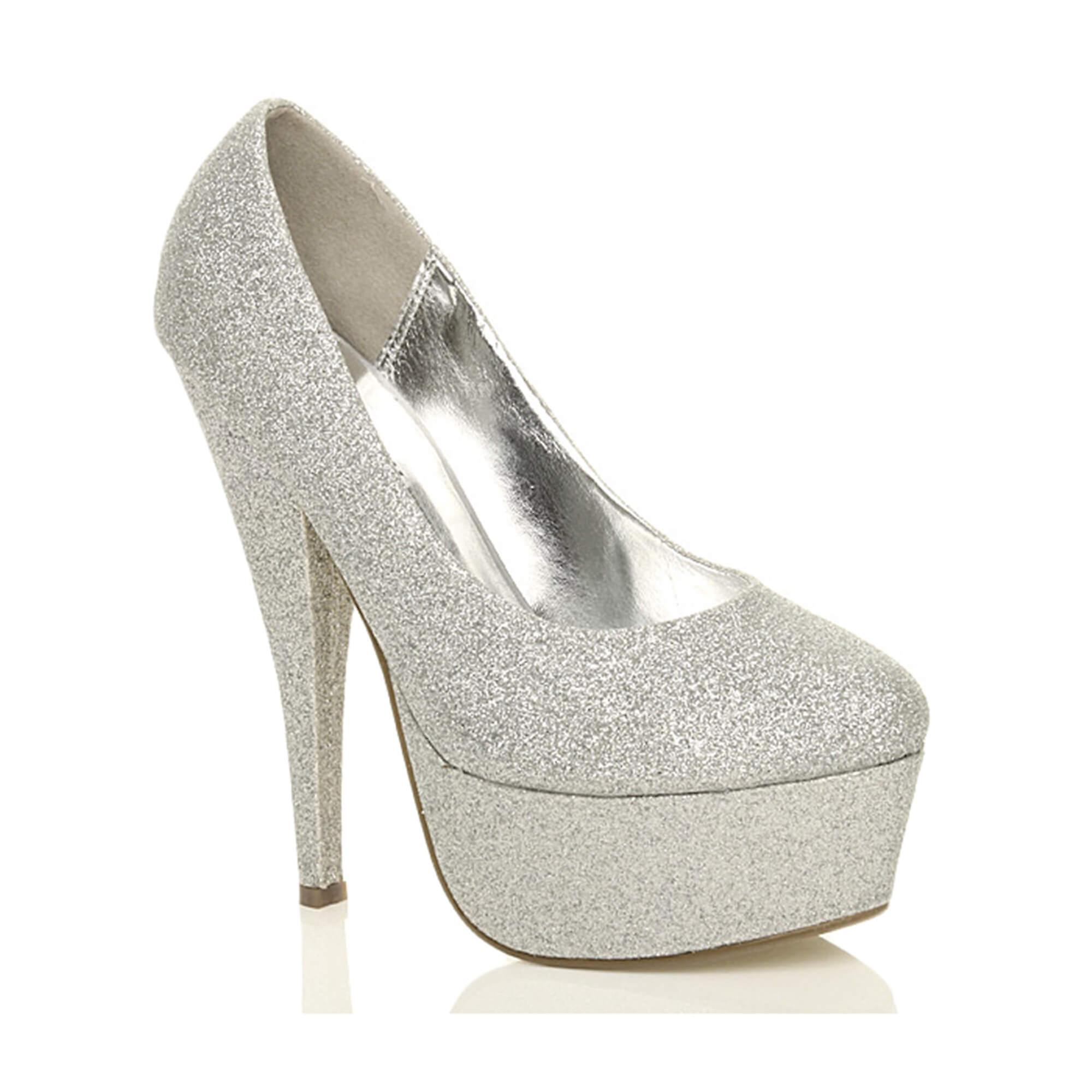 afc8c2fdfaf9 Ajvani womens platform high heel glitter party evening court shoes pumps