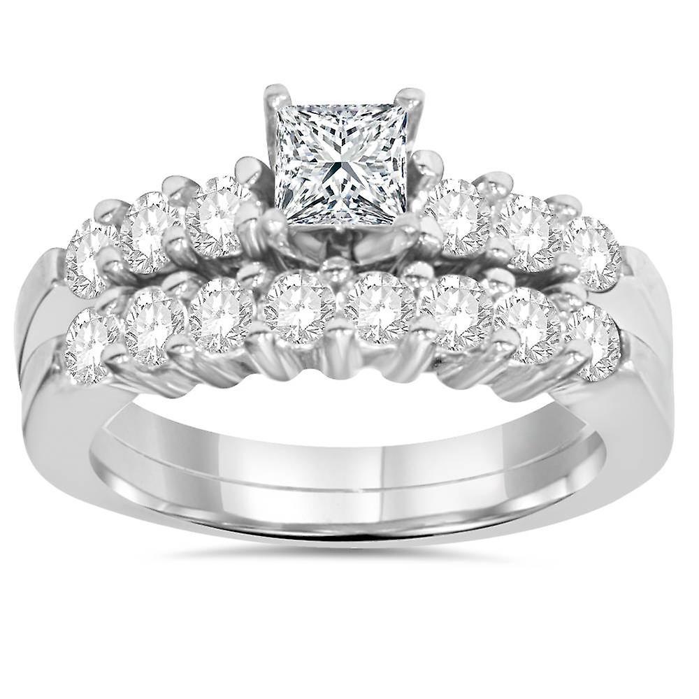 Princess Cut Diamond Engagement Ring Set 1 1 4ct Matching Wedding
