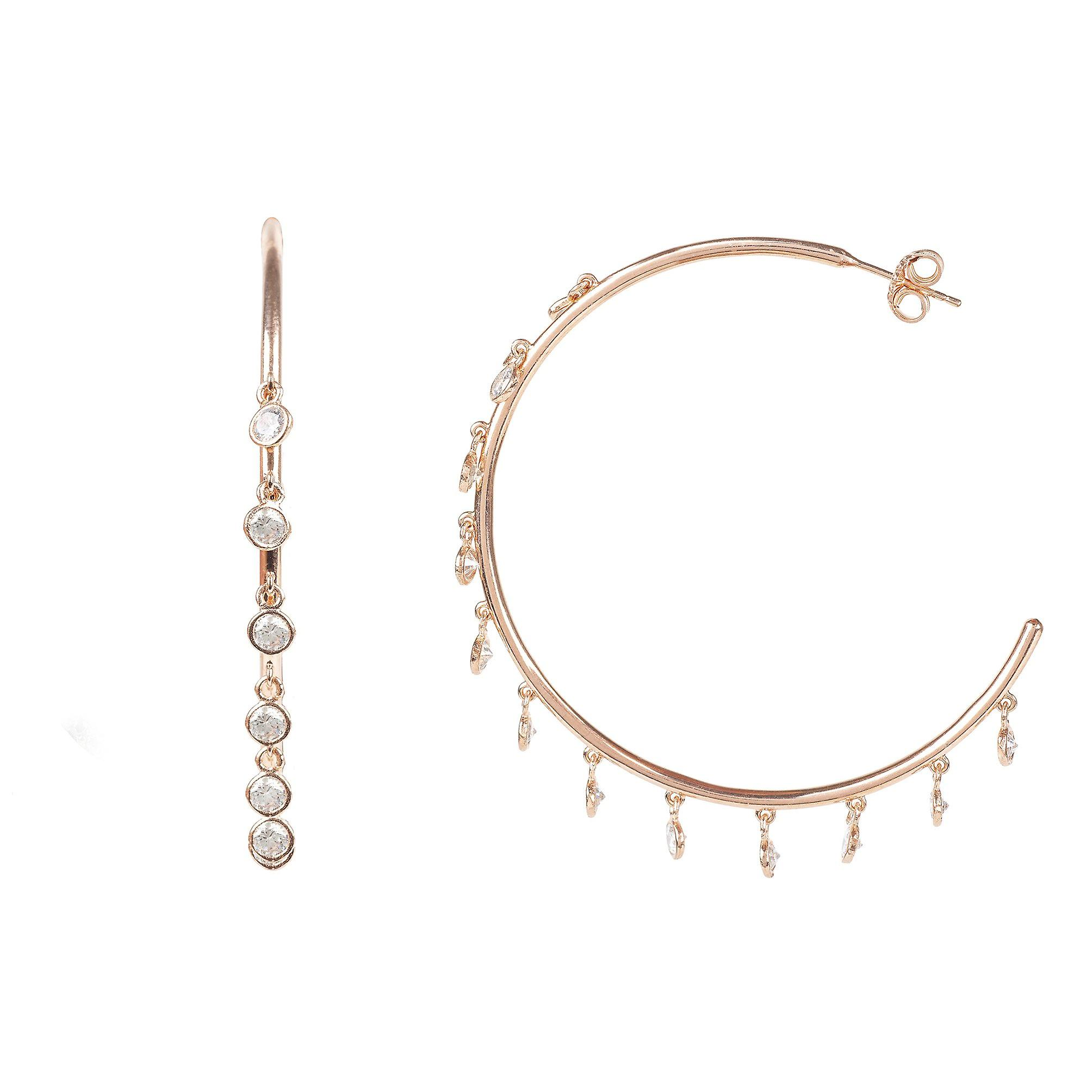 e667a3318 Extra Large Hoop CZ Earrings Pink Rose Gold 925 Sterling Silver Designer big
