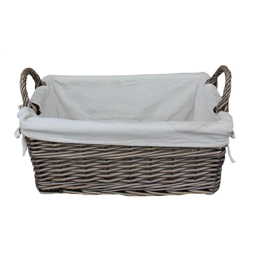 Genial Medium Shallow Antique Wash Lined Storage Wicker Basket