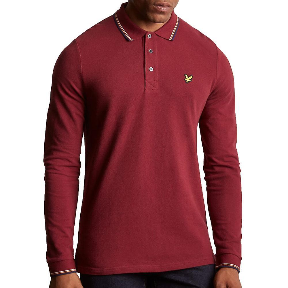 48cdf8d4 Lyle & Scott Long Sleeve Tipped Polo Shirt Claret Jug | Fruugo
