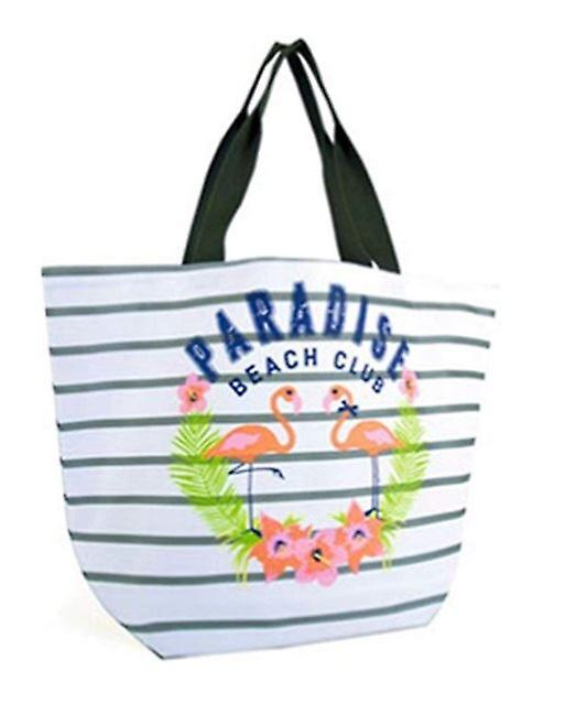 c19e3302ea40 Large Grey And White Striped Beach Bag Flamingoes Secure Food Bag Clothes  Bag