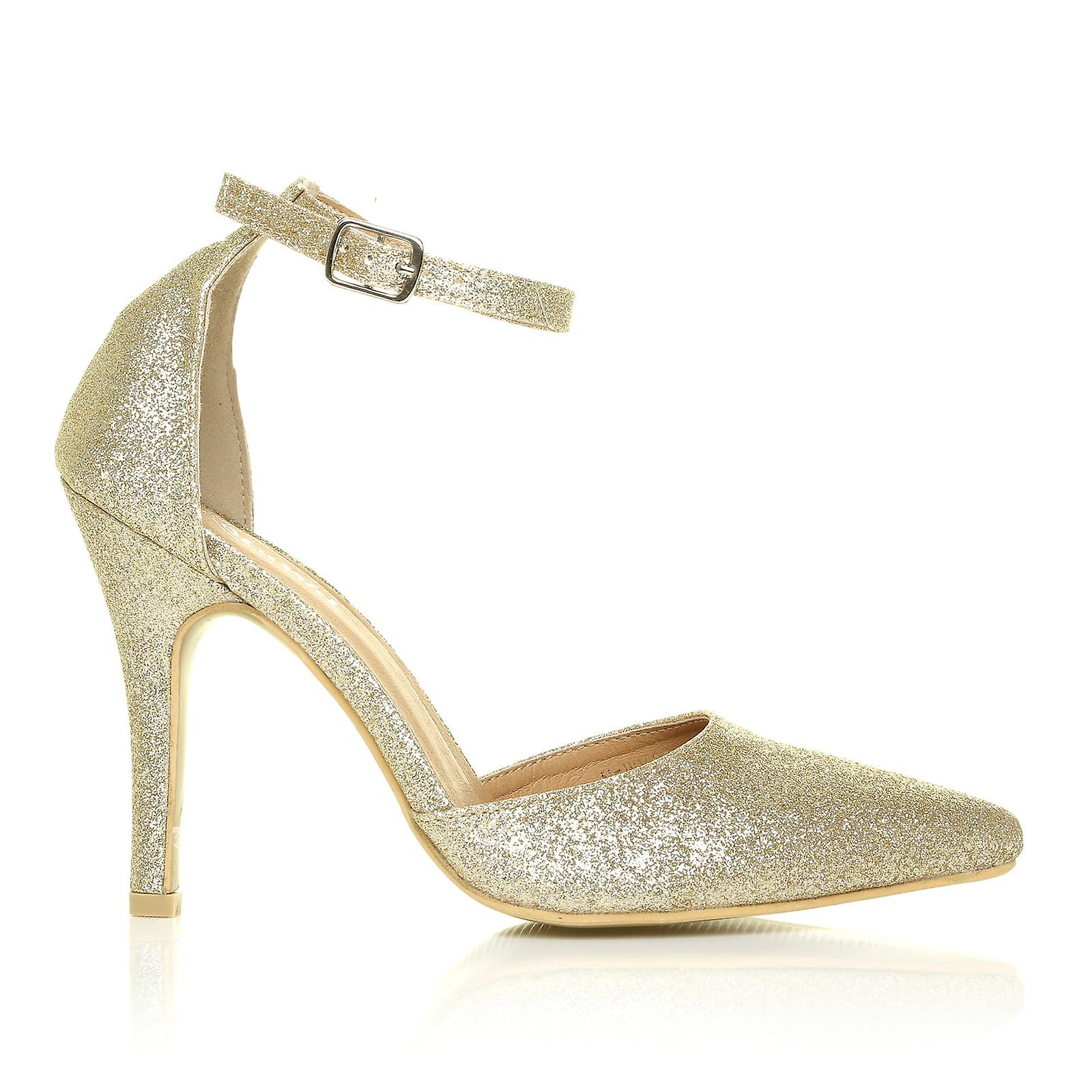 c04b642c0961 NEW YORK Champagne Gold Glitter Ankle Strap Pointed High Heel Court Shoes
