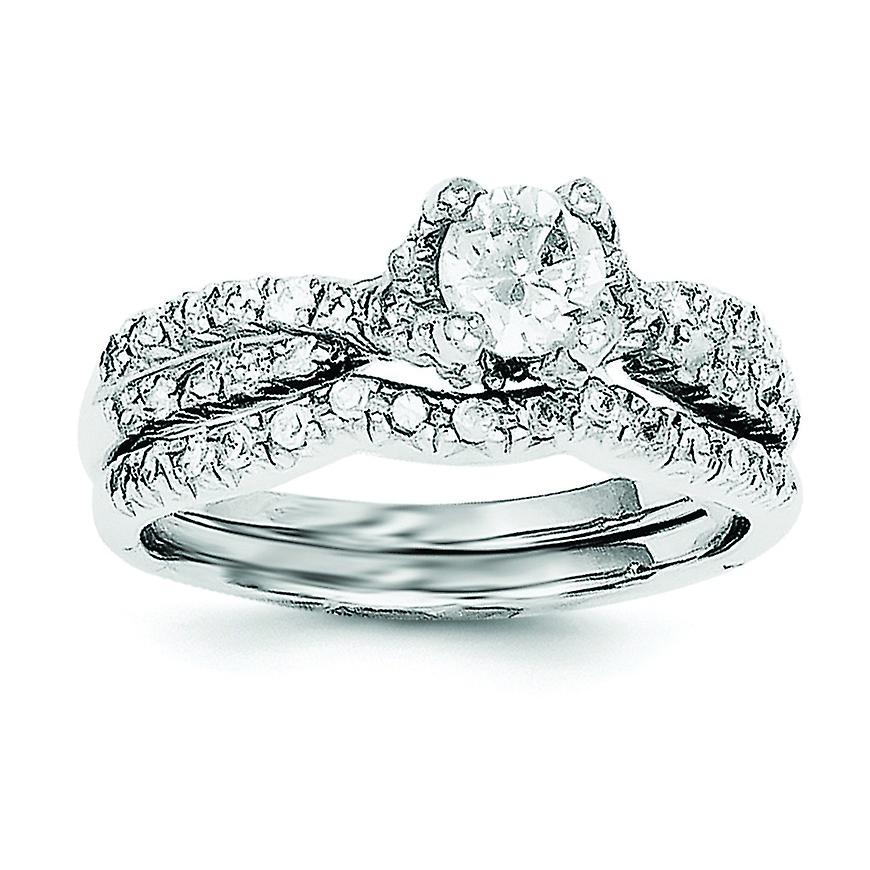 Sterling Silver Rhodium Plated 2 Piece Cubic Zirconia Wedding Set Ring Ring Size 6 To 8