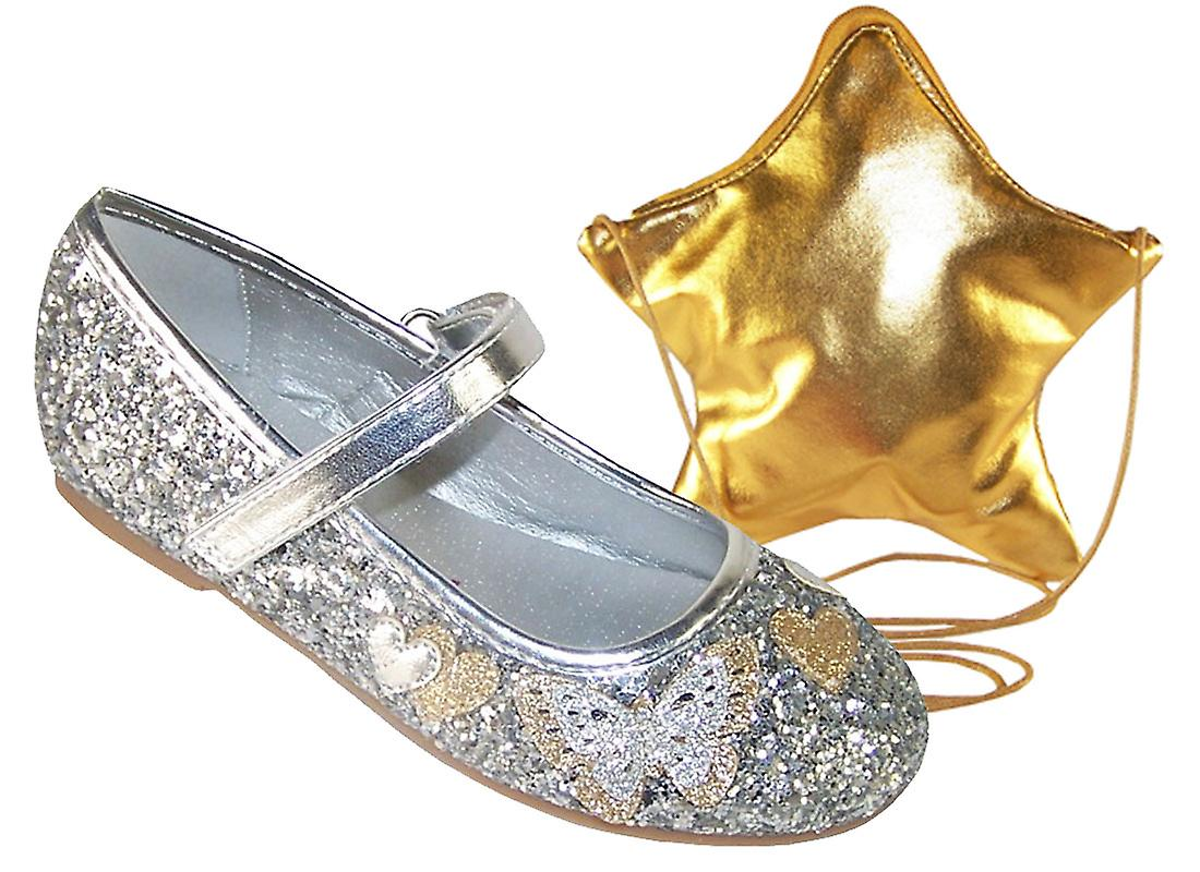 bf4d6ec3116f Girls silver glitter ballerina party shoes and bag set