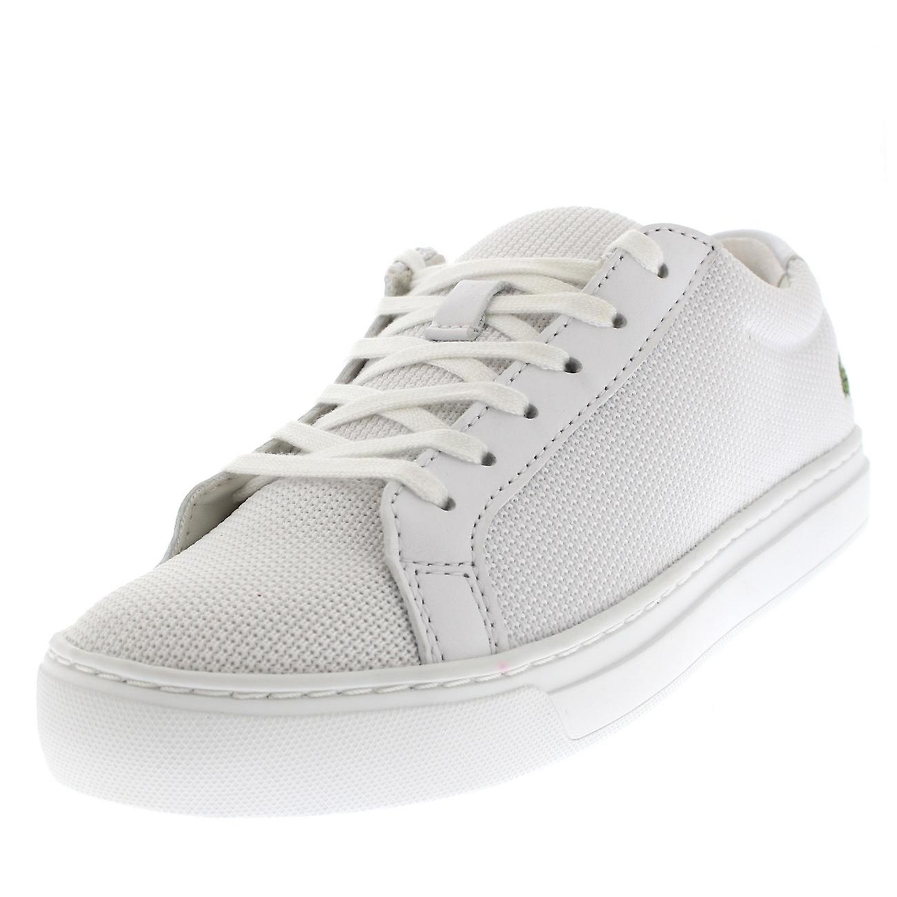 39e21e006 Womens Lacoste L12.12 2 White Low Top Lace Up Fashion Casual Trainers