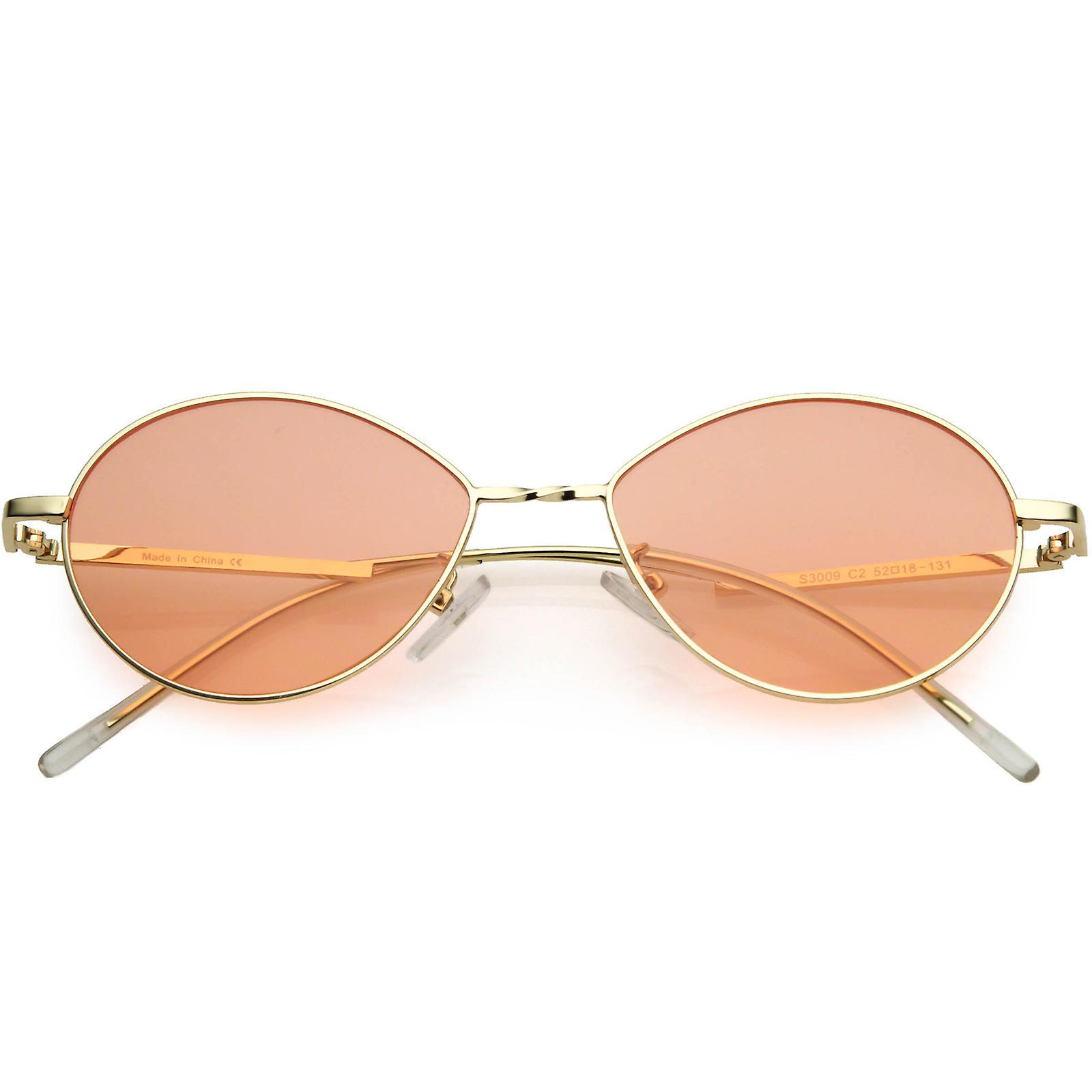 Små retro farge fargede linser gull metallramme ovale solbriller 50mm