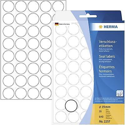 Herma 2257 Labels Ø 19 mm Film Transparent