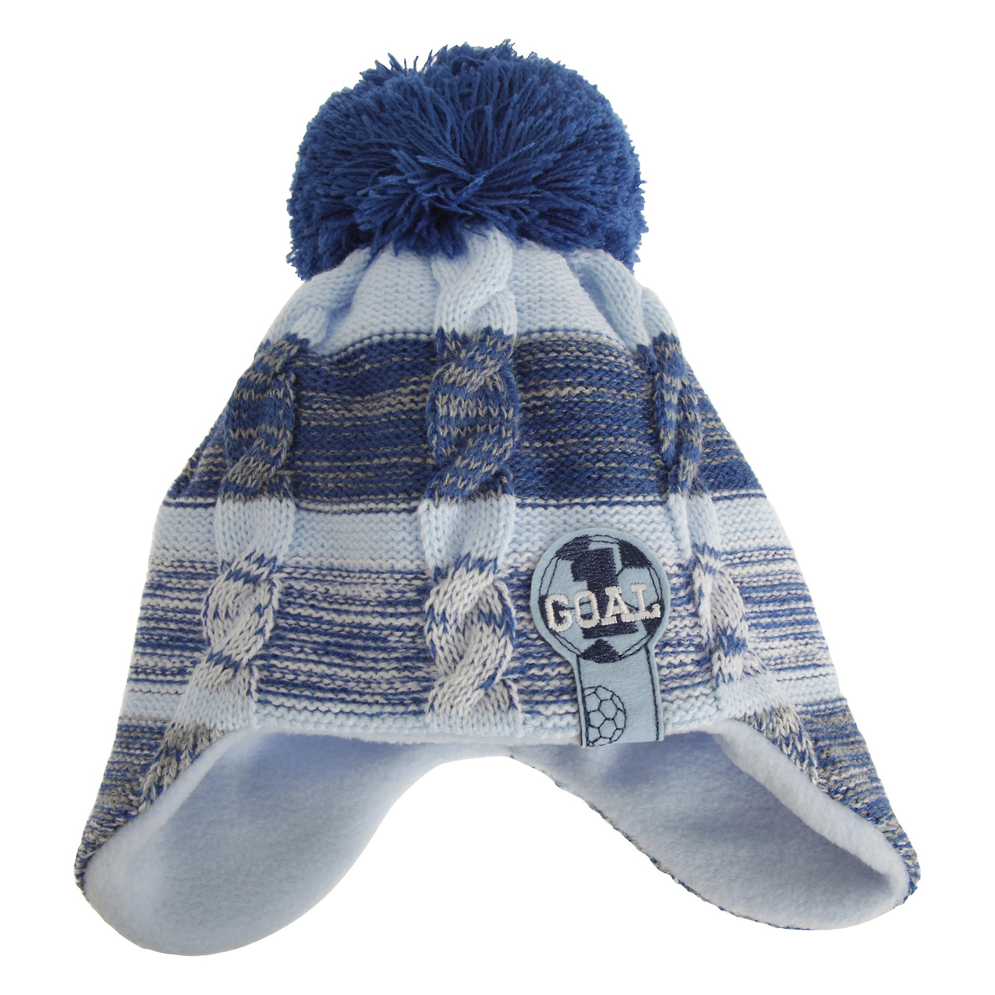 bb3613805fa Nursery Time Baby Boys Football Winter Ear Warmer Bobble Hat