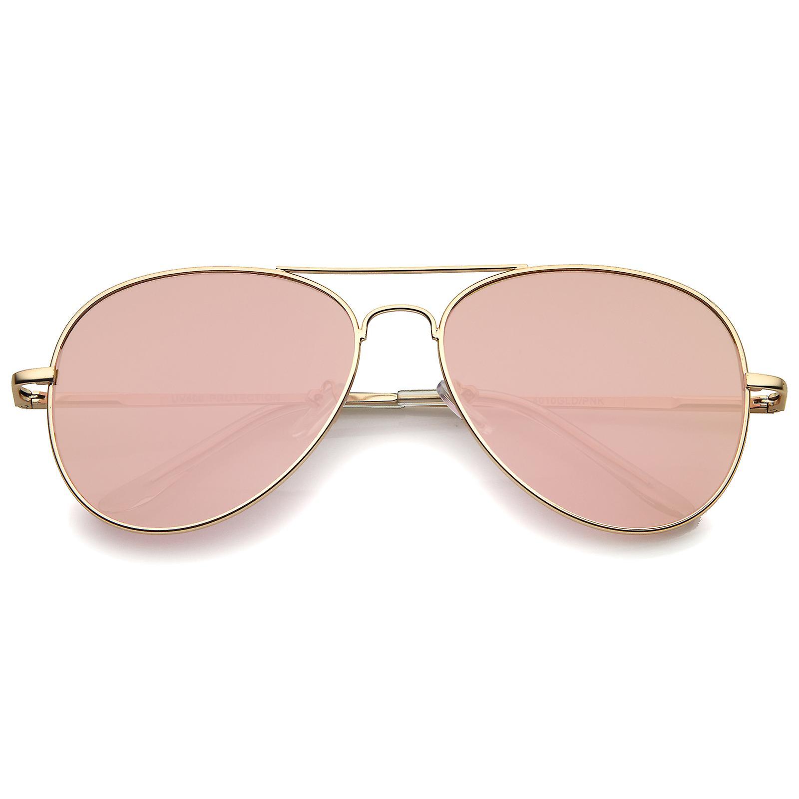 d7ce677979c6 Pequeño mate Metal oro rosa espejo plano lente aviador gafas de sol 56mm