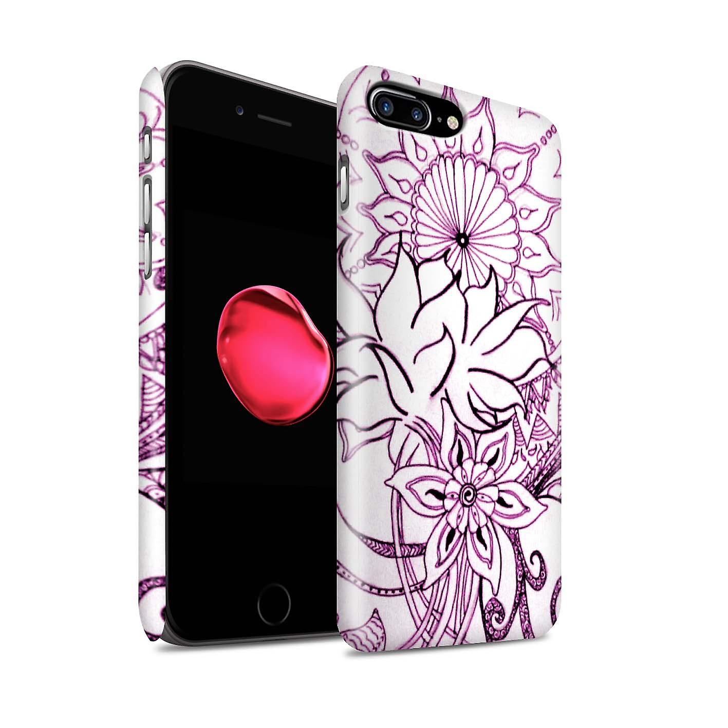 STUFF4 Matte Hard Back Snap-On Phone Case for Apple iPhone 7 Plus /  White/Purple Design / Henna Paisley Flower Collection