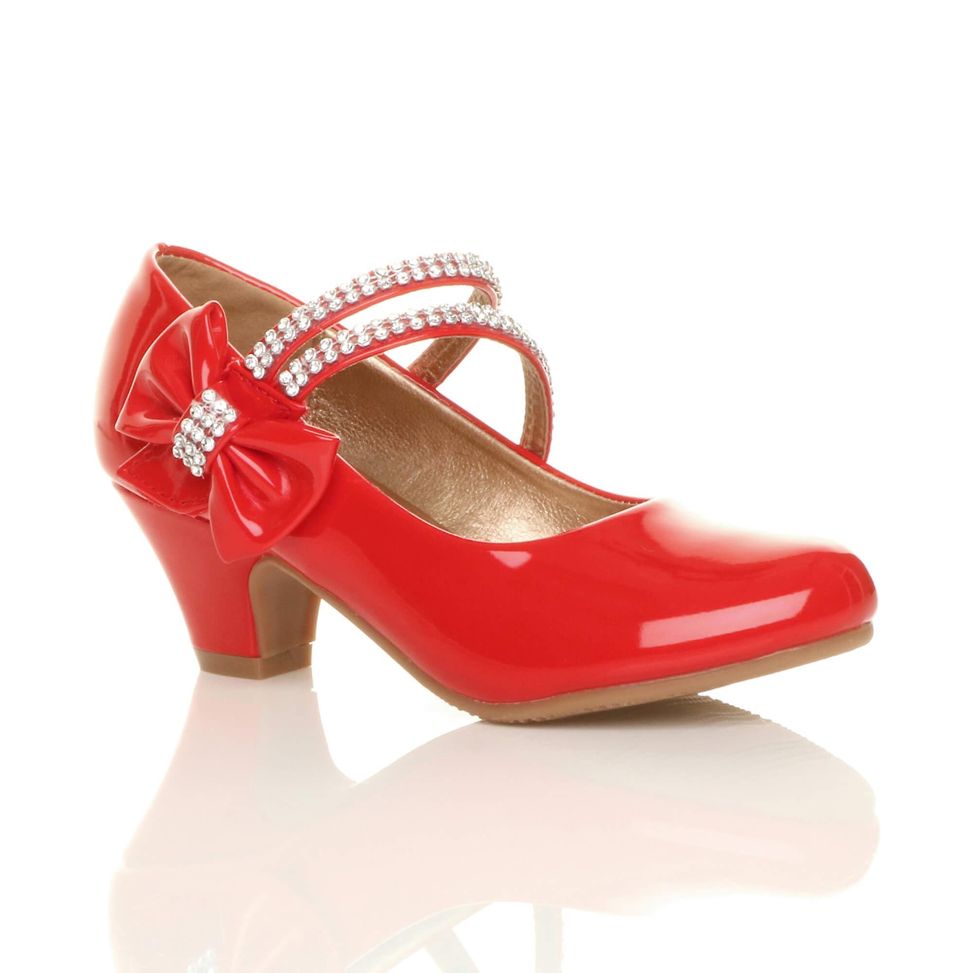 8b7862367650 Ajvani girls low heel party wedding mary jane style hook   loop sandals  school shoes
