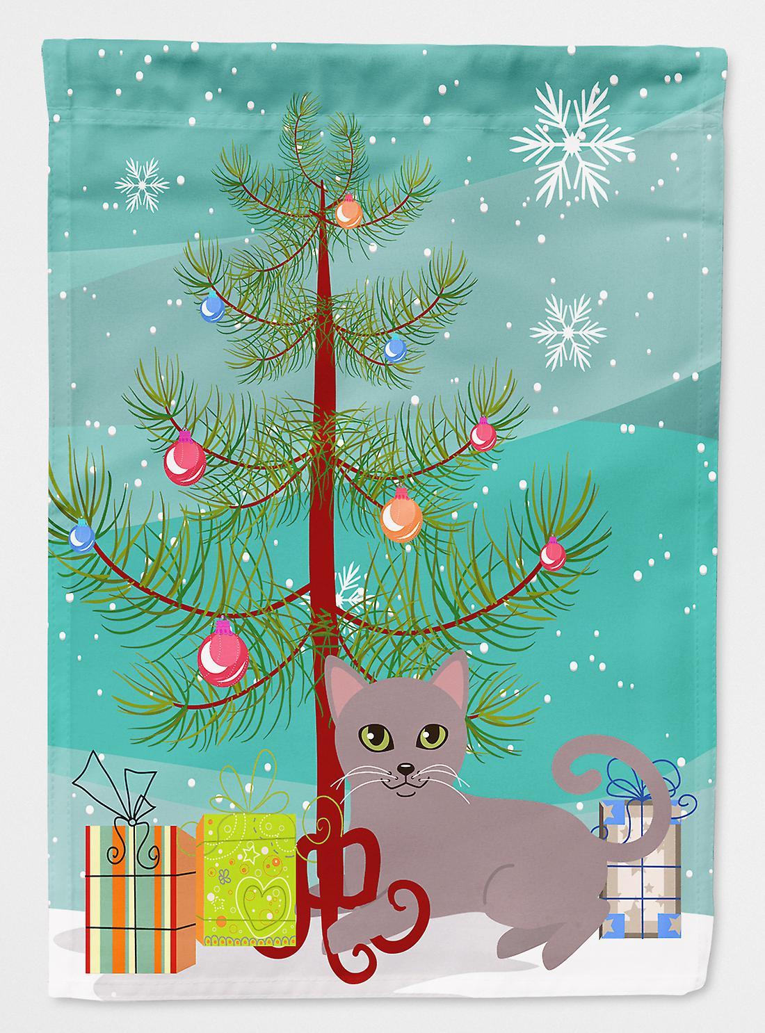 Russisch Frohe Weihnachten.Russisch Blau Katze Frohe Weihnachten Fahne Baumgarten Grosse