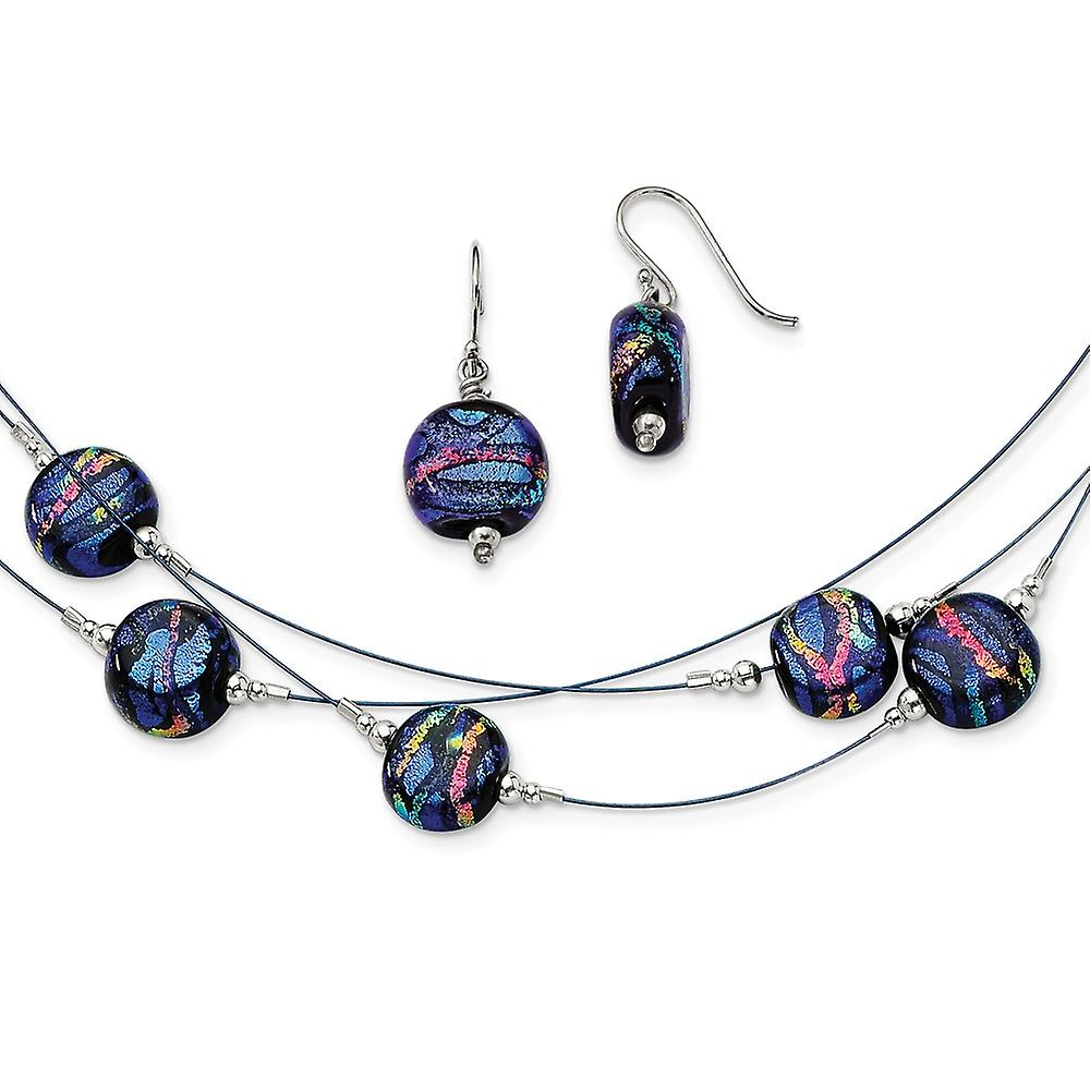925 Sterling Silver Blue Dichroic Glass Dangle Earrings /& 18 Necklace Set
