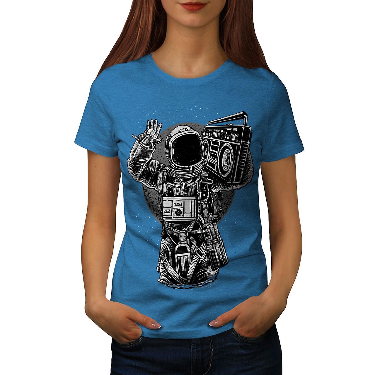 Astronaut Boombox Music Women Royal BlueT-shirt   Wellcoda ...