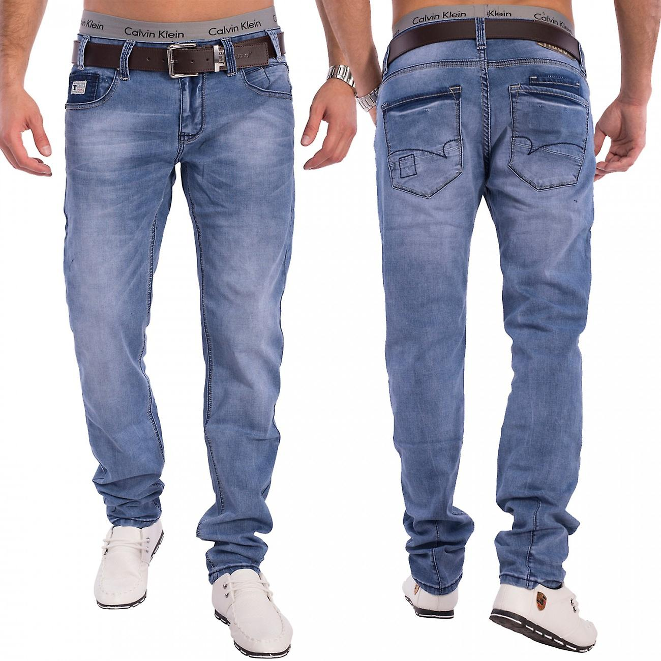 240561835 Men's Denim Tapered Jeans Skinny Fit Light Blue Stretch Pants Trousers