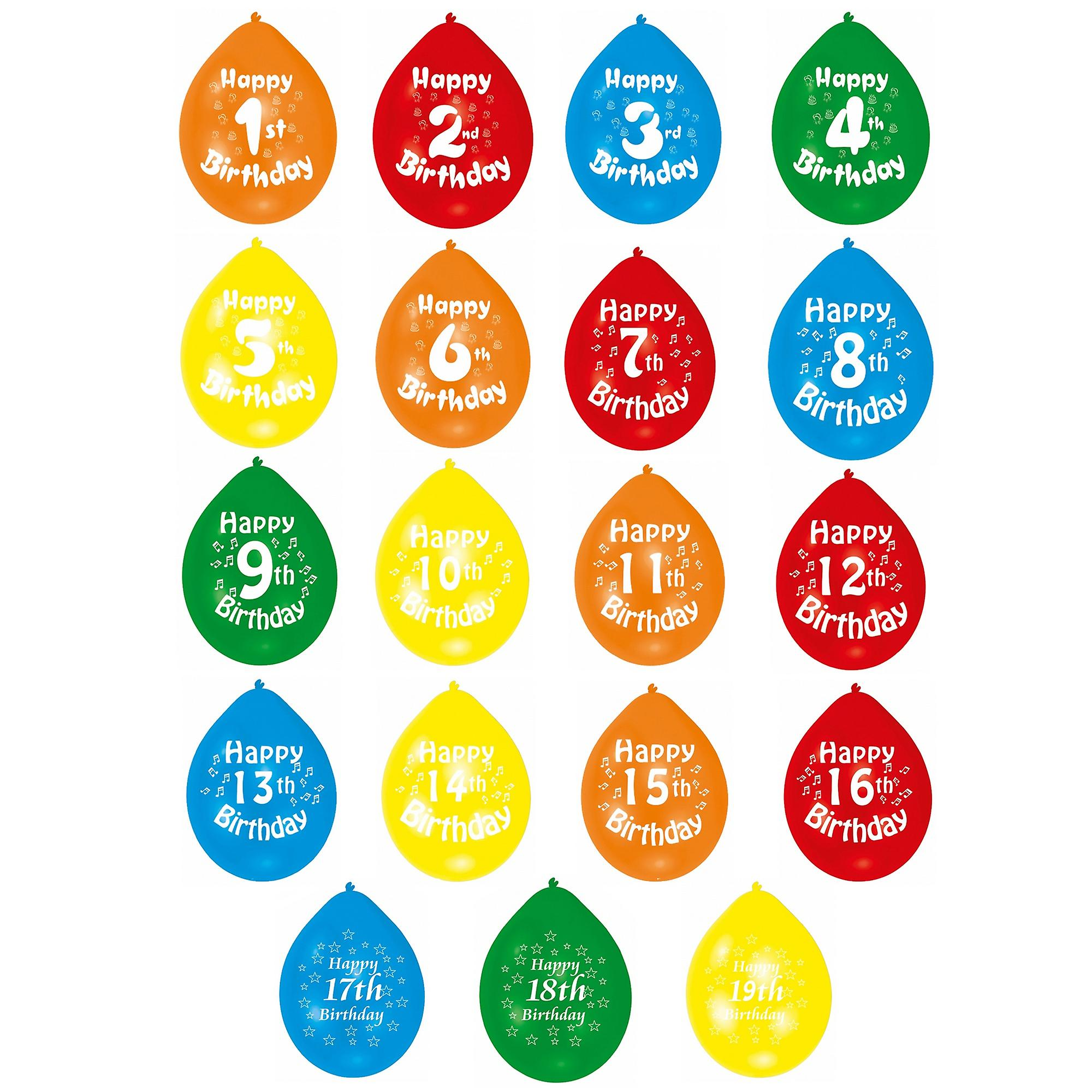 Amscan Multicoloured Numerical Happy Birthday Party Balloons Age 1 19 Pack Of