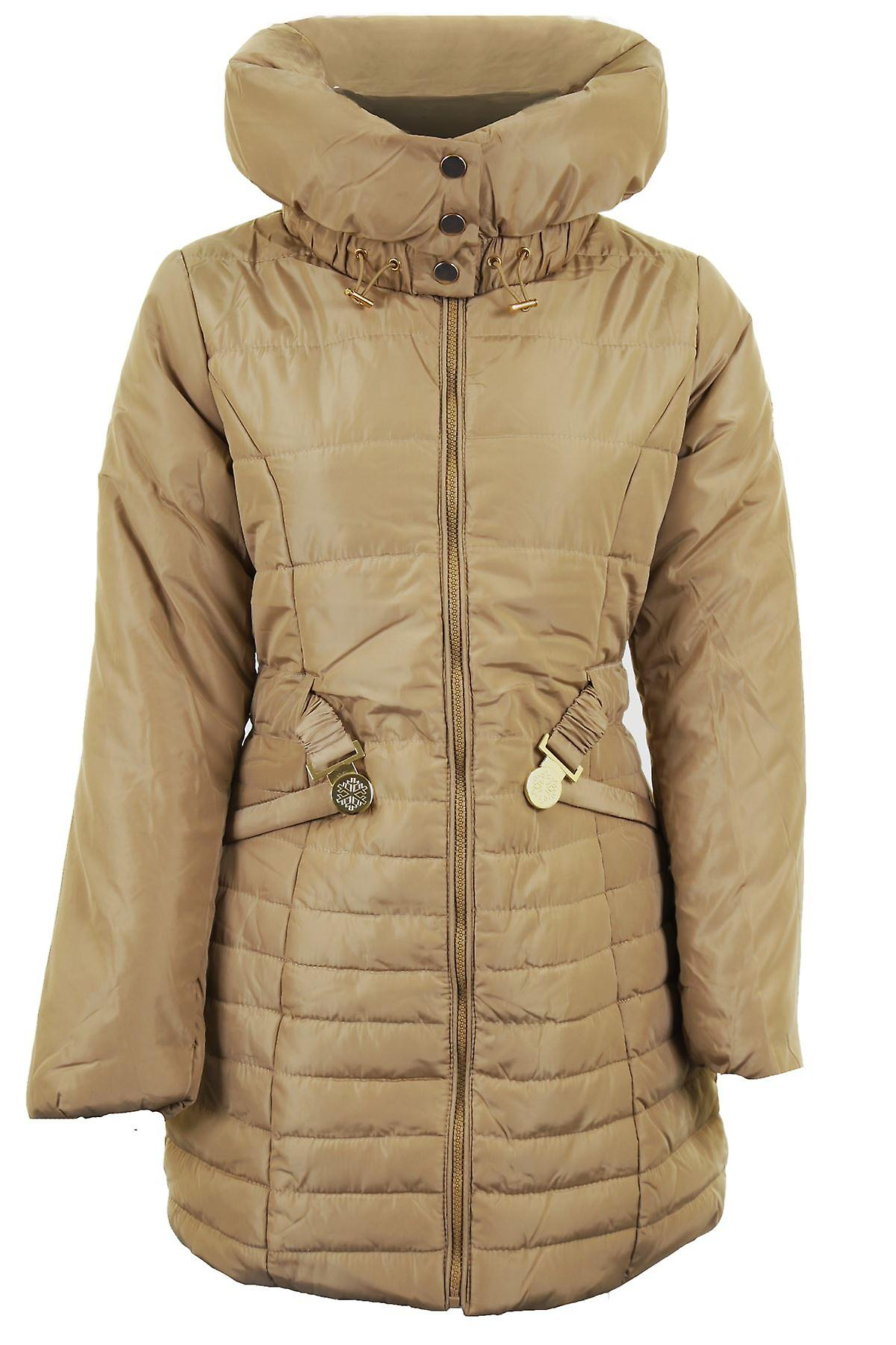 sale online super cheap sale usa online Ladies Quilted Padded Belted Puffer Black Beige Women's Winter Jacket Coat