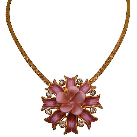Cheap Beautiful Pink Flower Pendant W Crystals Fruugo