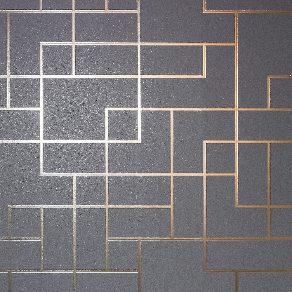 Metallic Foil Square Geometric Wallpaper Charcoal Rose Gold Fine Decor Platinum