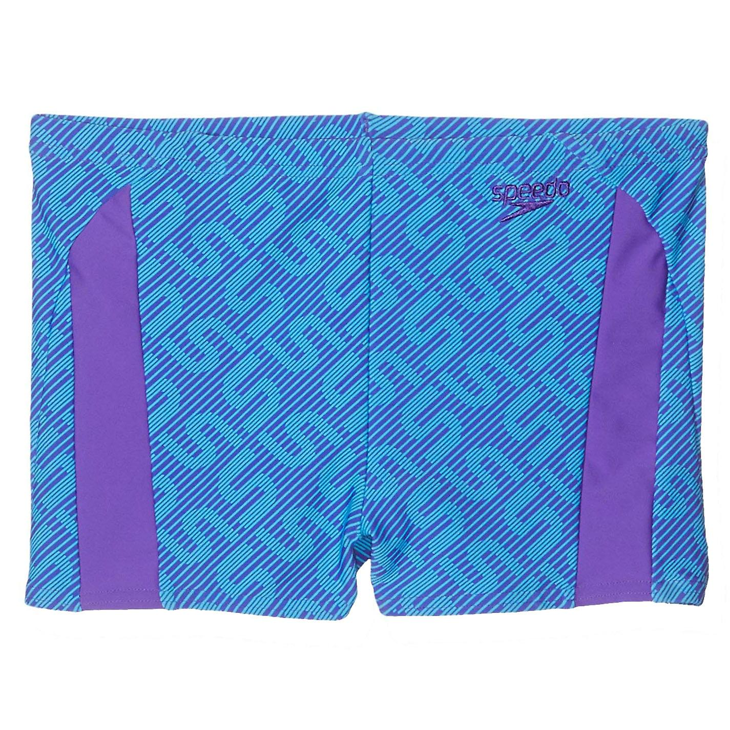 Speedo Monogram Allover Kids Boys Swimming Aquashort Water Short Blue//Purple