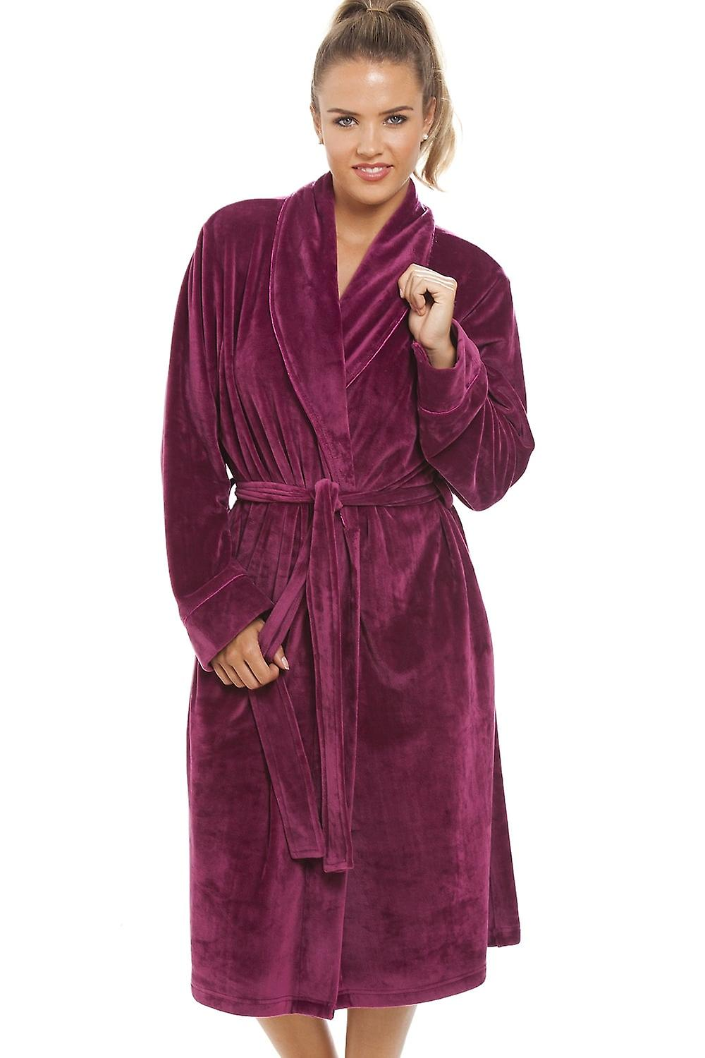 Camille Luxurious Heavy Weight Soft Rose Pink Velour Dressing Gown ...