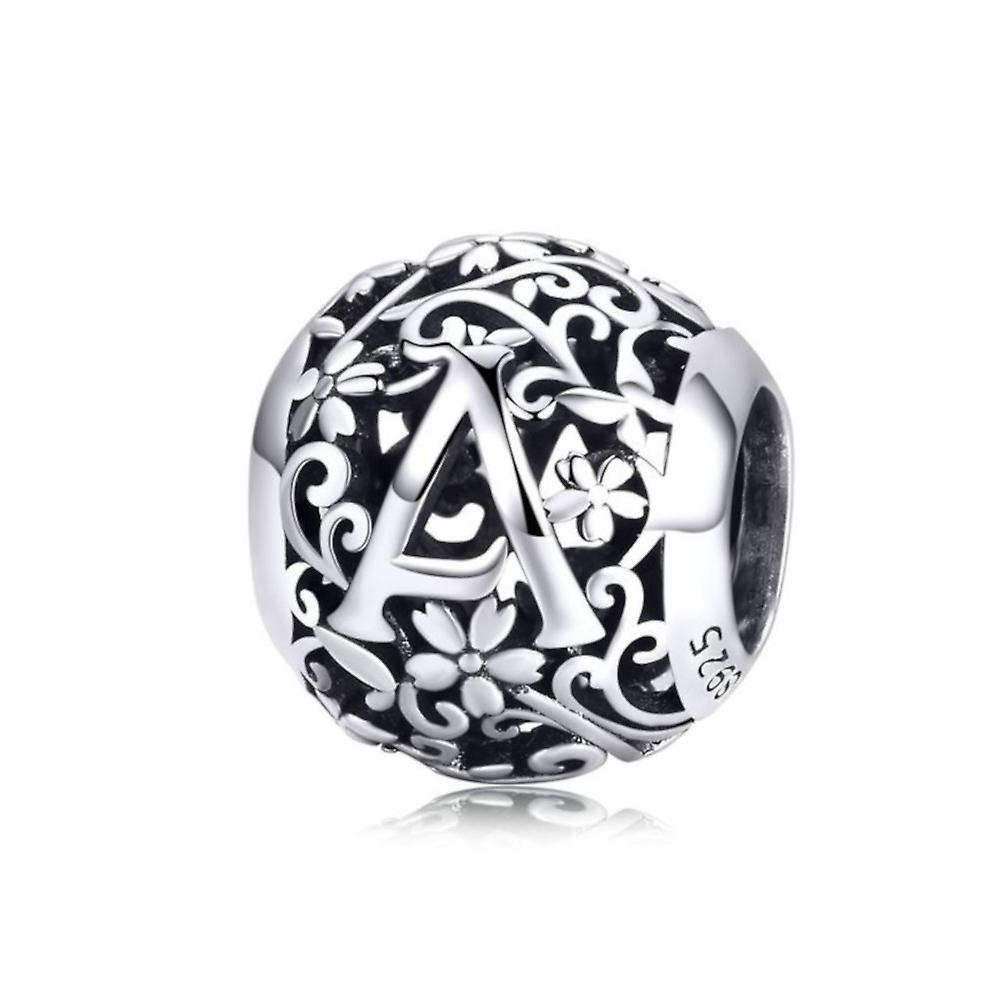 c9e1bd140 Sterling silver alphabet charm with flowers letter A | Fruugo