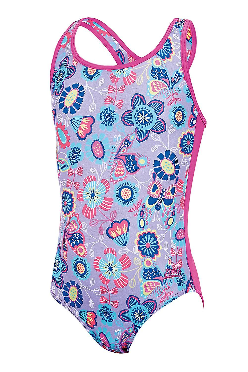 8b64f8a539 ZOGGS Girls Wild Actionback Swimsuit - Lilac Multi
