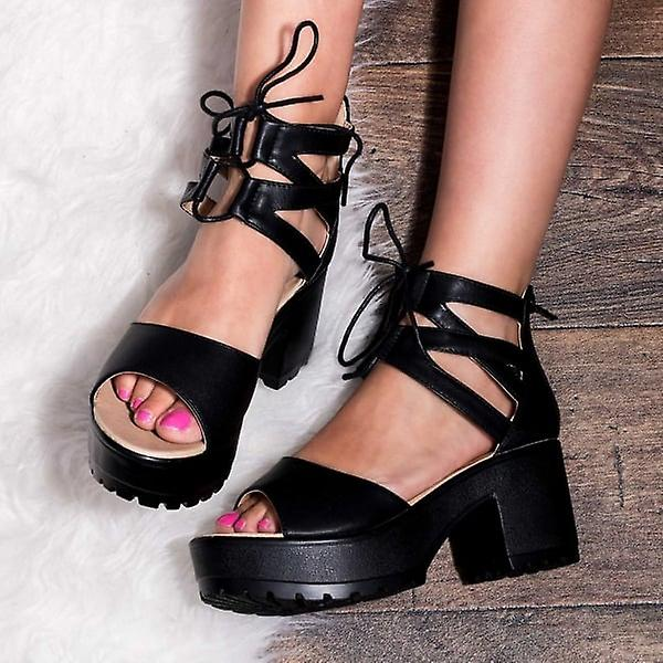 8904c7075f70 Spylovebuy RAVE Lace Up Cleated Sole Block Heel Sandals Shoes - Black  Leather Style