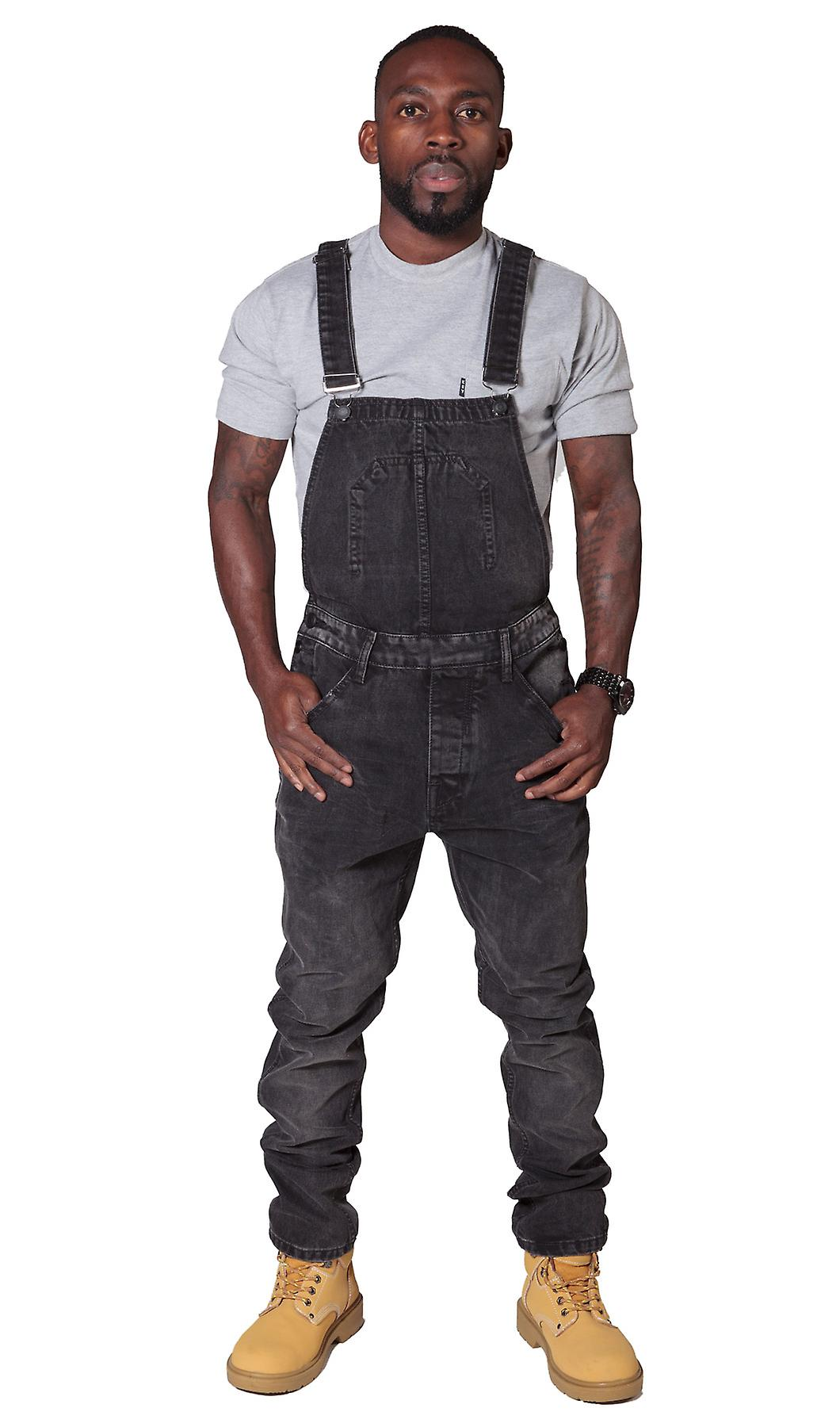 47edb066f16 Slim Fit Men s Dungarees - Faded Black Denim Overalls for Men Bib Down  Dungarees