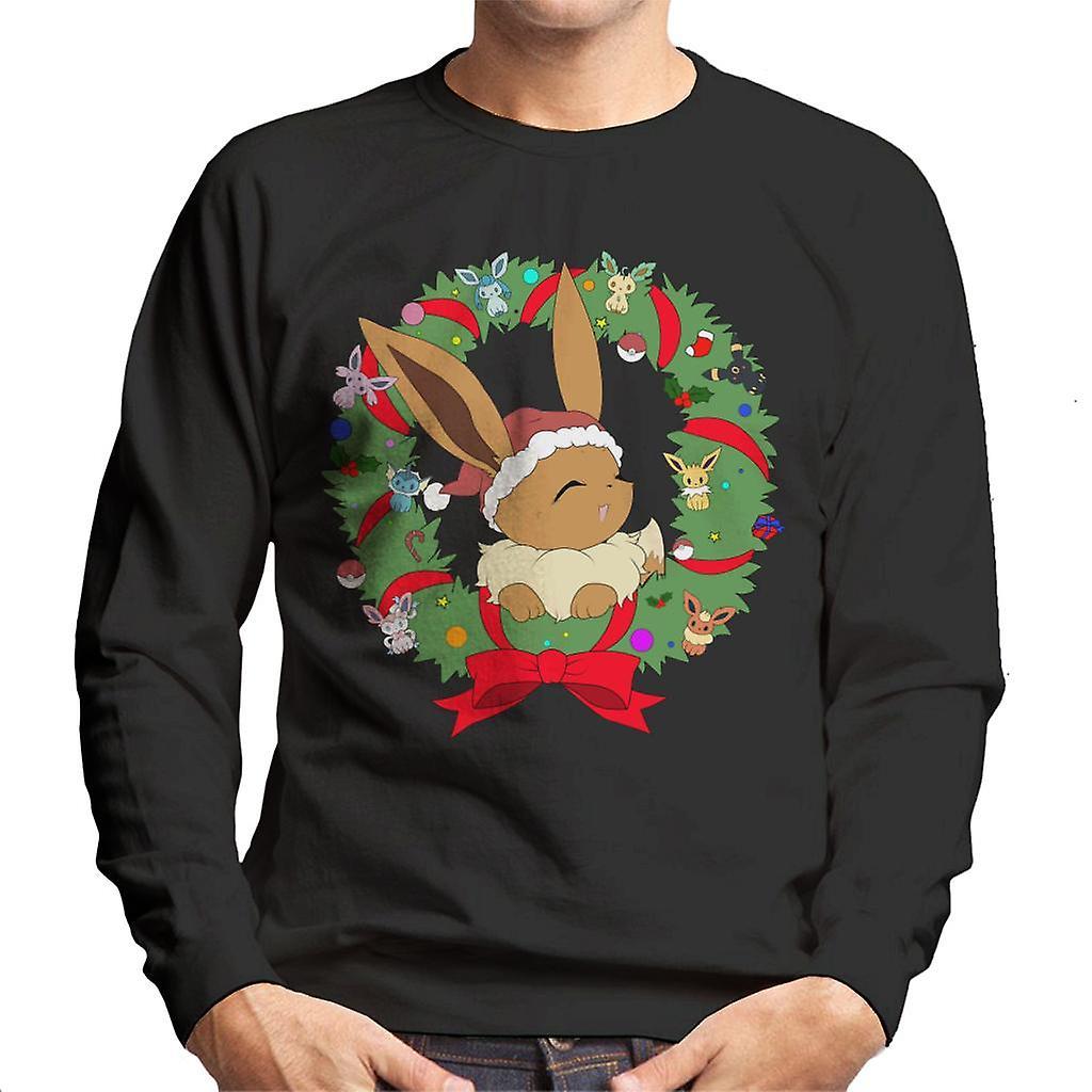 Evoli Weihnachten Kranz Pokemon Herren Sweatshirt