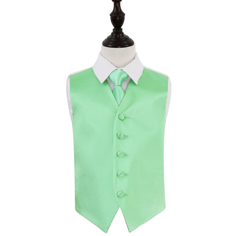 Mint Green Plain Satin Wedding Waistcoat Tie Set For Boys Fruugo