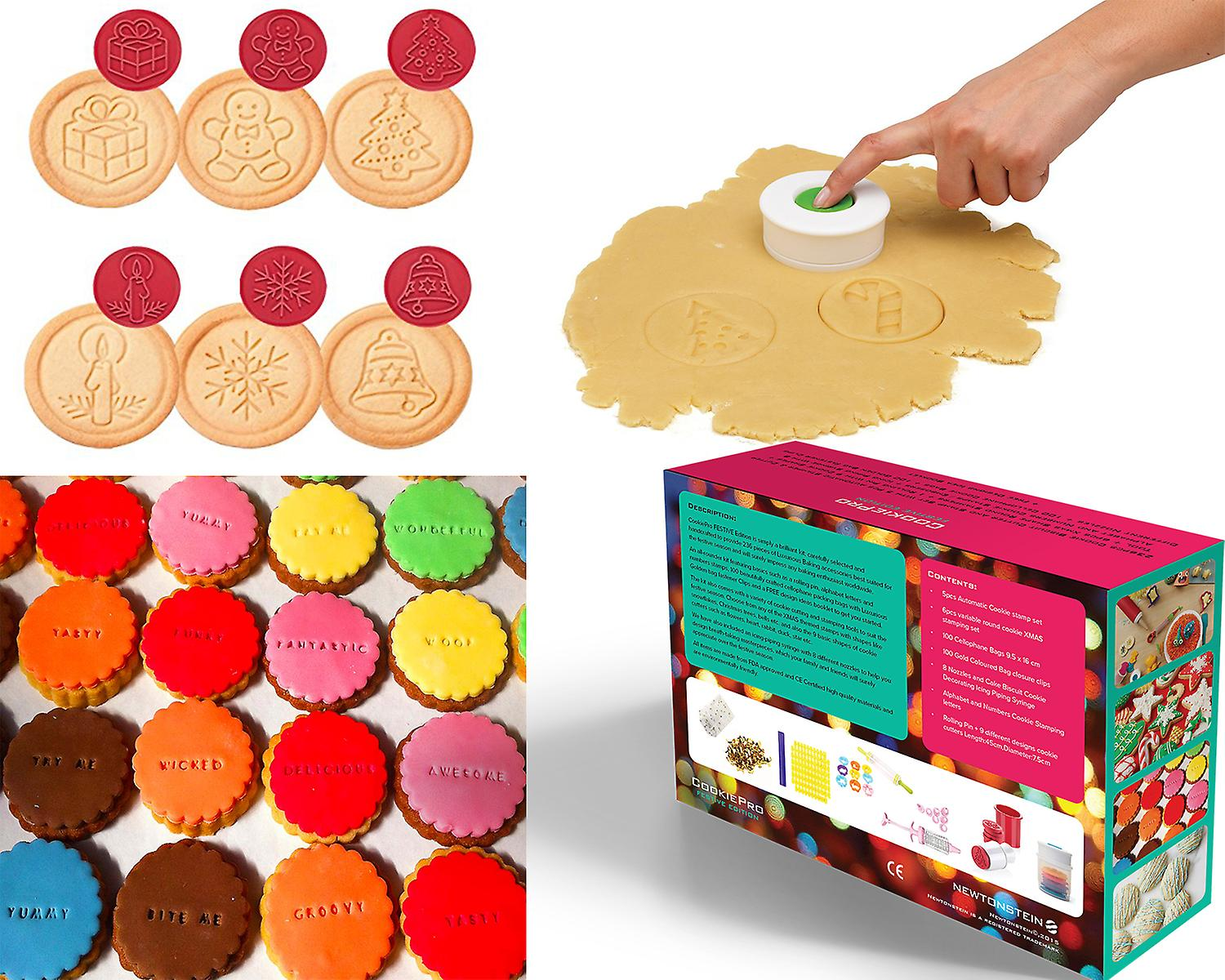 28524fc9933b Cookiepro Festive Edition - 231pcs Cookie Biscuit Cutter And Stamp Set With  6pcs Xmas Shape Round Stampers + 1 Decorating Icing Pen + 1 Rolling Pin  With 9 ...