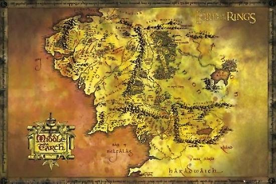 Lord of the Rings Middle Earth Map Poster Poster Print | Fruugo