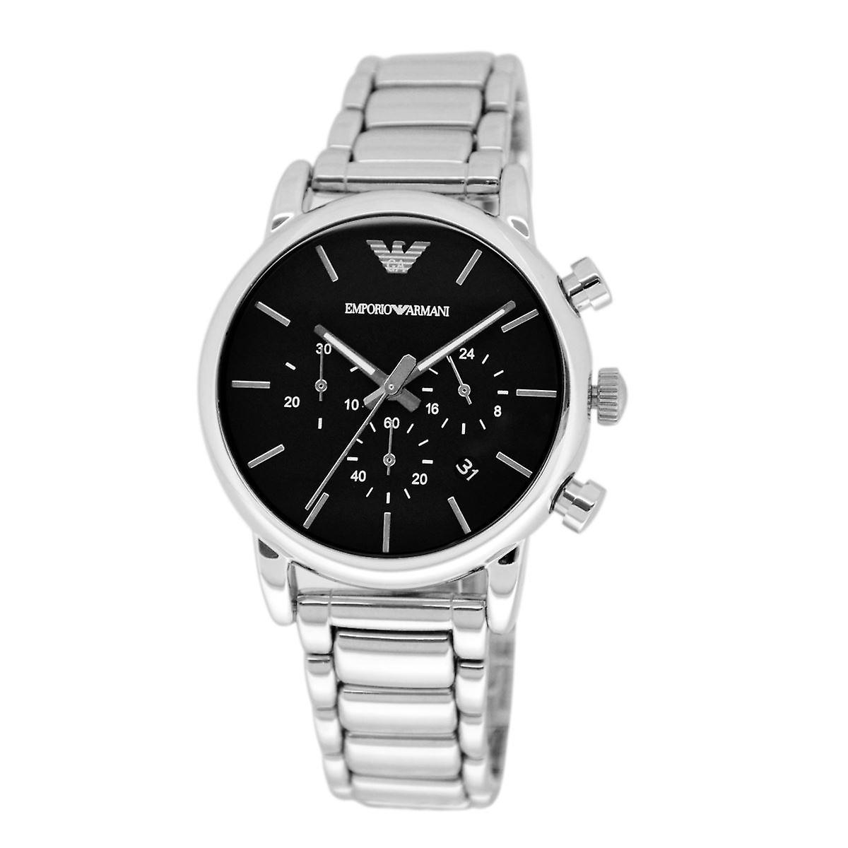 f4db58a4a37e Cronógrafo reloj acero inoxidable brazalete esfera negra AR1853 Emporio  Armani hombre