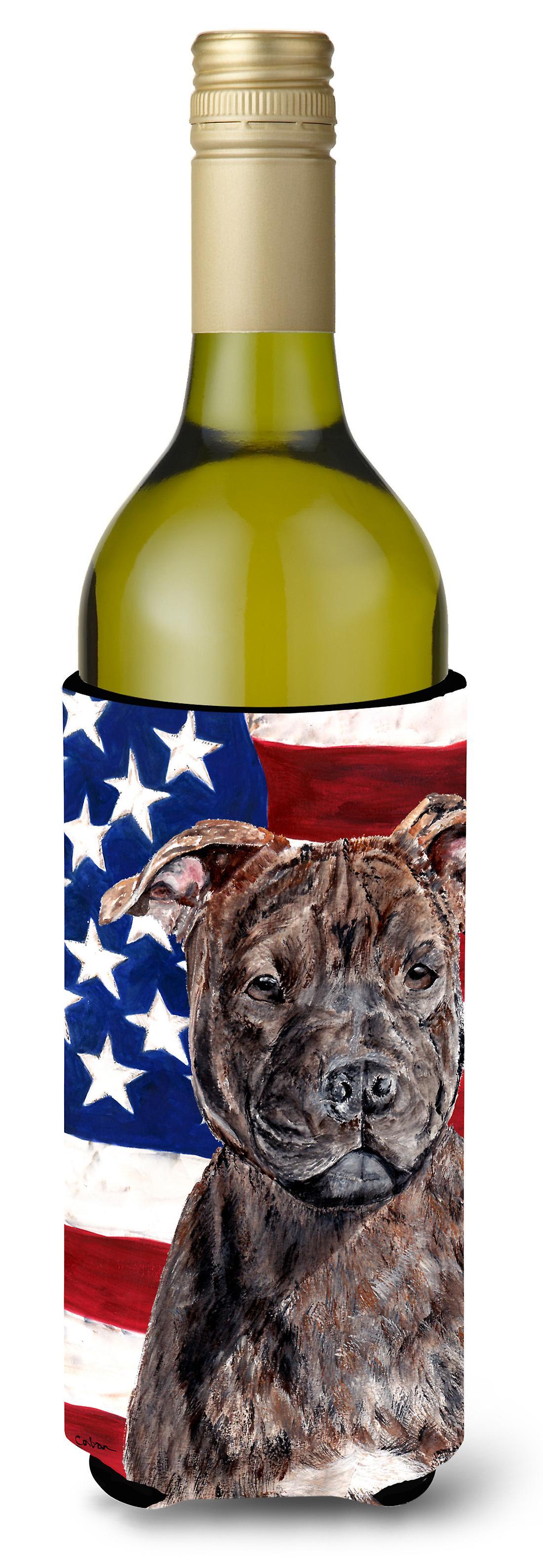 Staffordshire Bullterrier Staffie mit amerikanische Flagge USA Wein ...