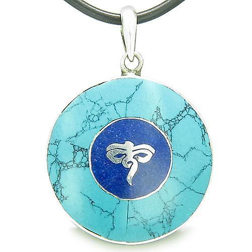 Amulet Ancient Tibetan Buddha All Seeing Eye Magic Turquoise Lapis Lazuli  Circle Pendant Necklace