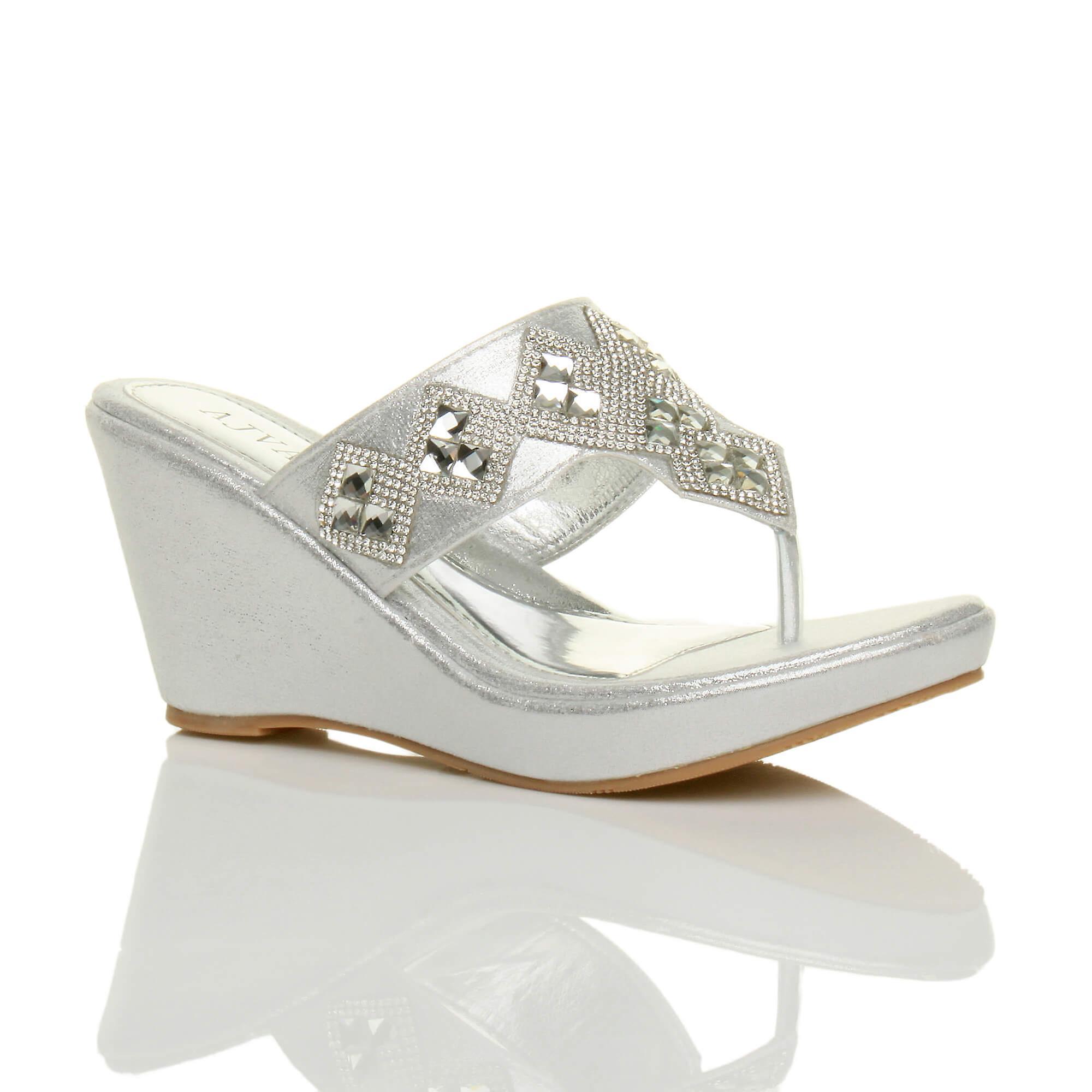 Ajvani womens high heel wedge t bar toe post diamante platform mules sandals