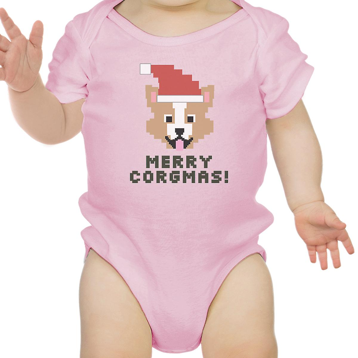 9e8e42f60d05 Merry Corgmas Corgi Pink Baby Bodysuit Cute Christmas Baby Gift Idea ...