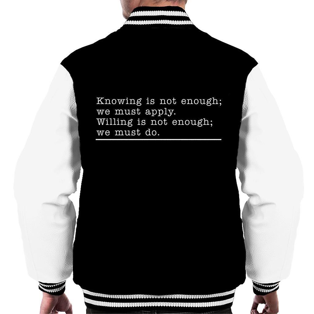 Wissen Ist Nicht Genug Johann Wolfgang Von Goethe Zitat Männer Varsity Jacket