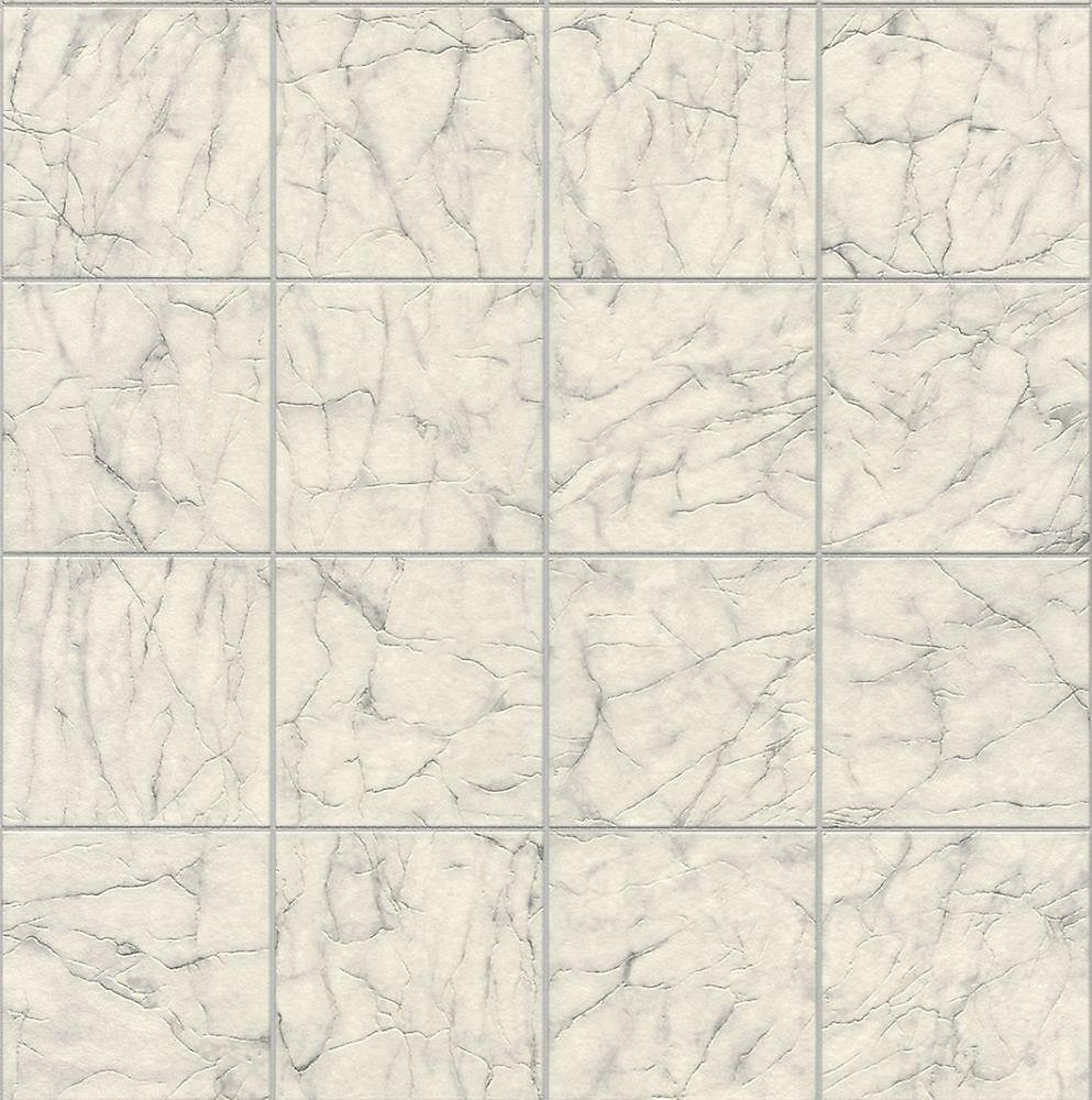 Rasch Marmor Fliese Muster Tapete aus weißem Vinyl Küche Bad geprägt