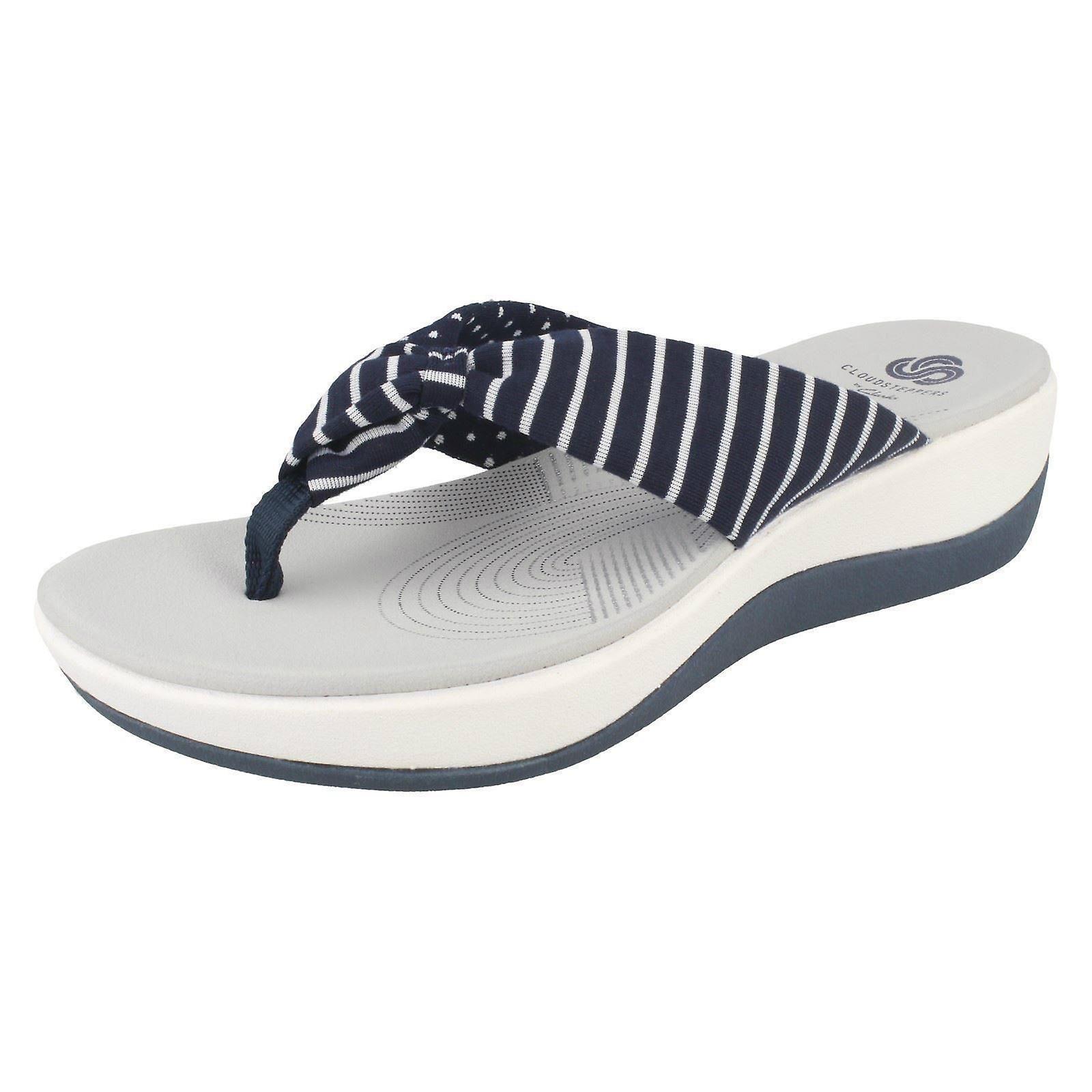 db0b85a9153c Ladies Clarks Cloudsteppers Toe Post Summer Sandals Arla Glison - Navy Combi  Textile - UK