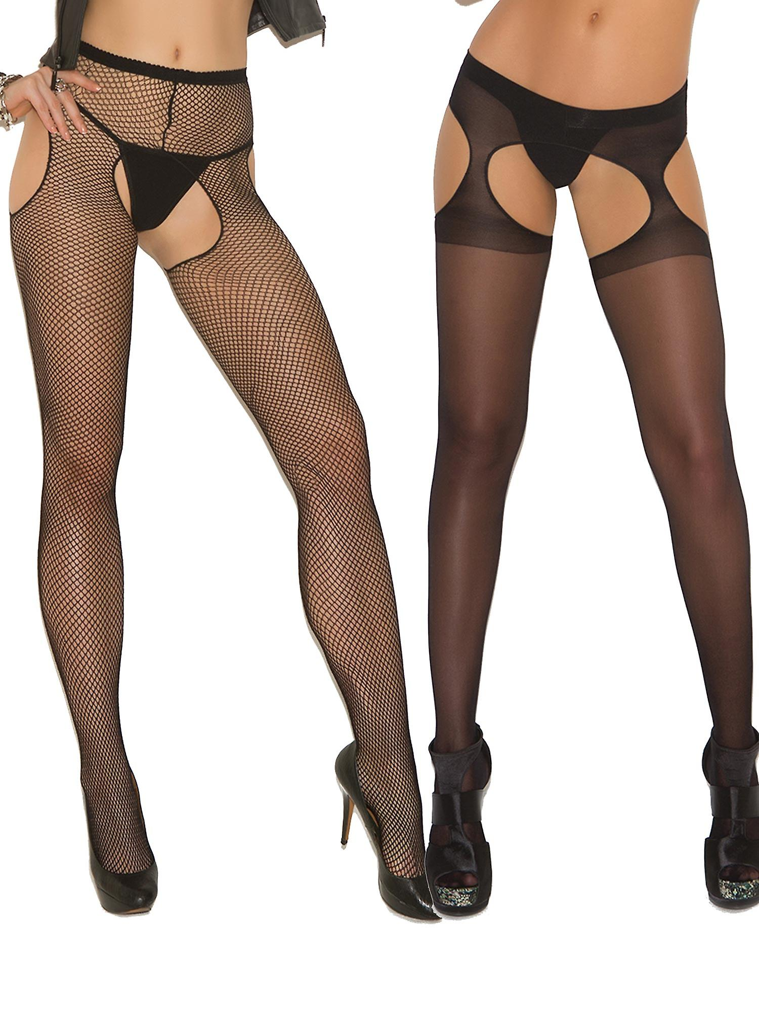 8f402786803 Womens Sexy Sheer Fishnet Crotchless Black Suspender Pantyhose Hosiery  Stockings- 2 Pack